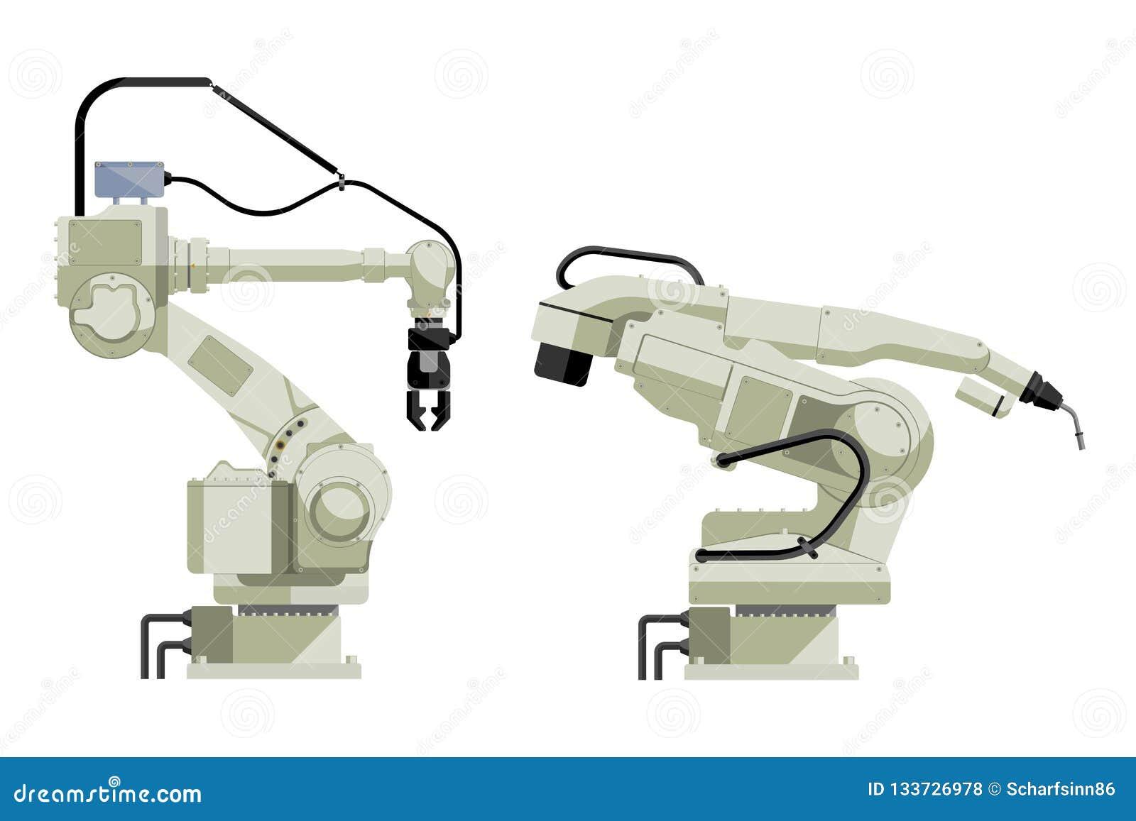 Placez de l assemblée manipulant et des robots de soudure