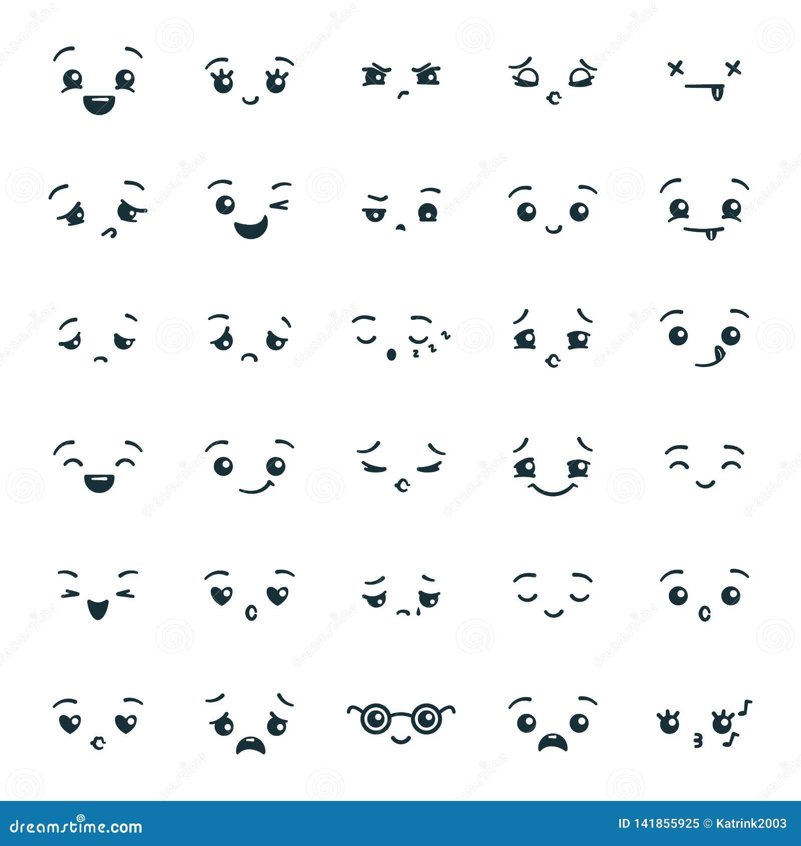 Placez De L Emoji Mignon D Emoticones De Kawaii Visages D Expression Dans Le Style D Anime Japonais Manga Illustration De Vecteur Illustration Du Expression Visages 141855925