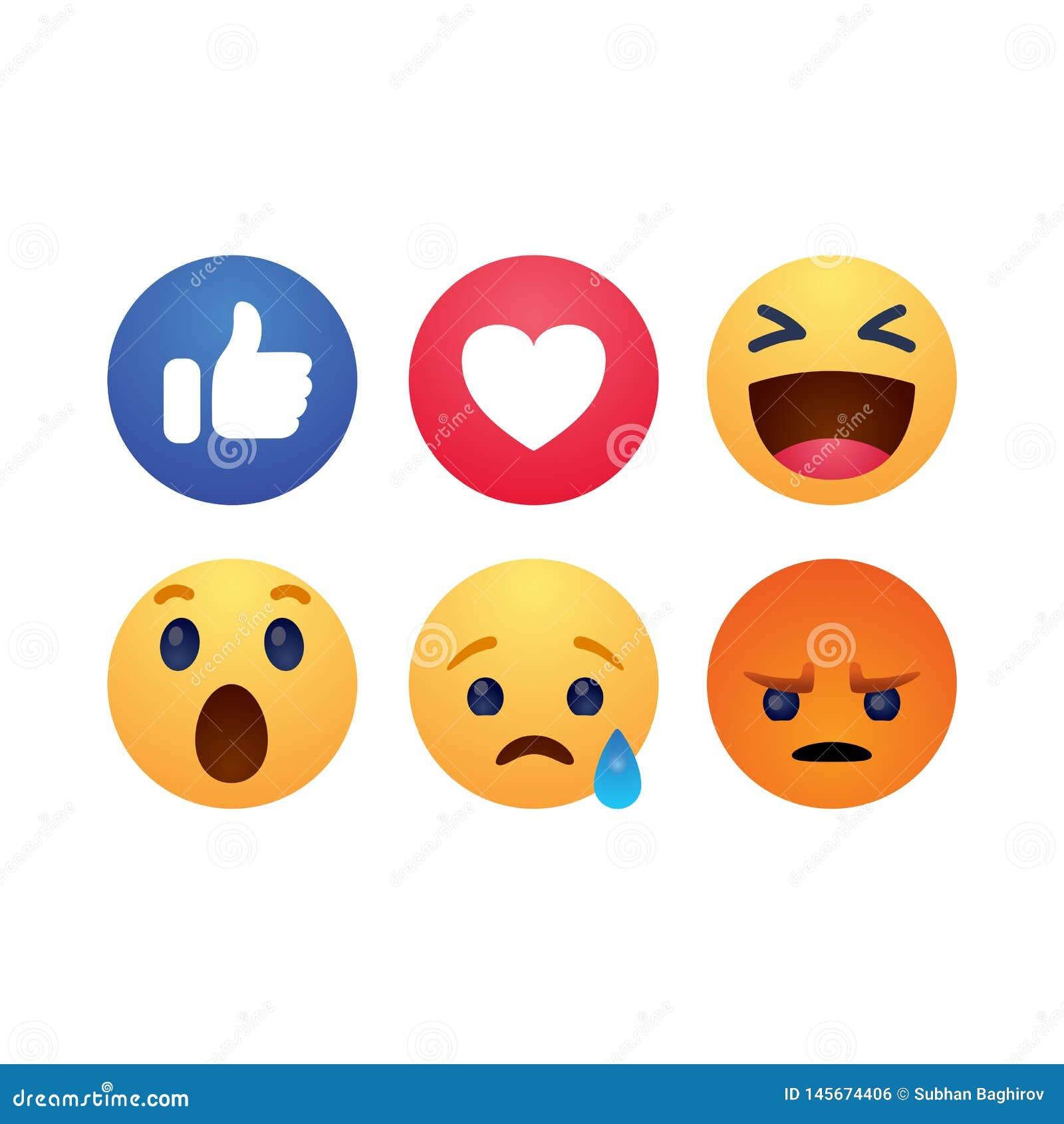 Placez de l illustration plate simple de vecteur de style de boutons d émotion de réactions