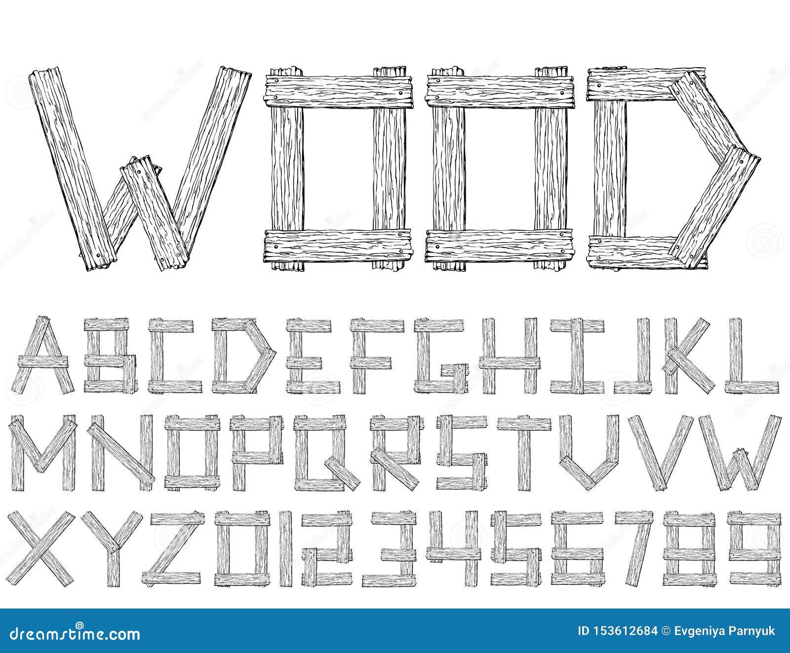 Placez de la police abstraite en bois et de l alphabet de vecteur