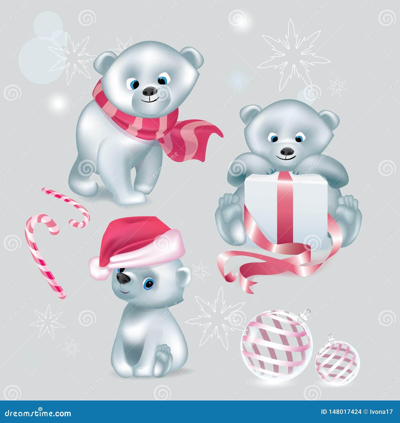 Placez de Noël mignon blanc de vecteur d ours