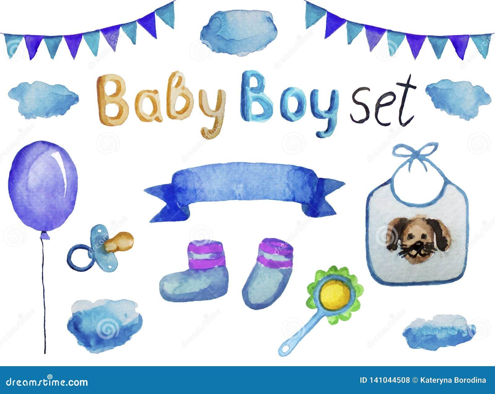 Placez des accessoires et des articles pour un garçon nouveau-né, illustration d aquarelle d isolement