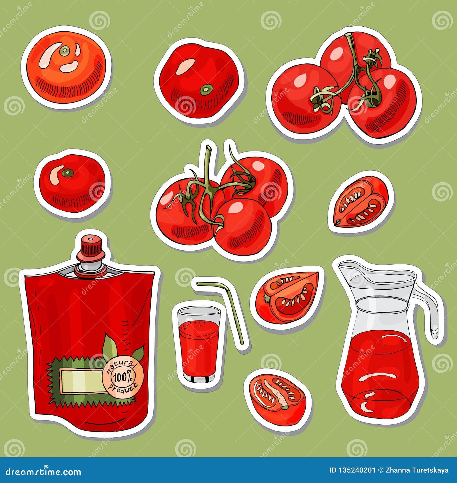 Placez des autocollants des tomates et de l objet tiré par la main différent