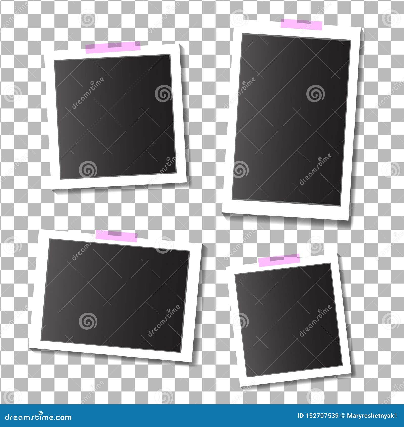 Placez des cadres vides de photo de calibre avec la bande adhésive et collante sur le fond d isolement EPS10