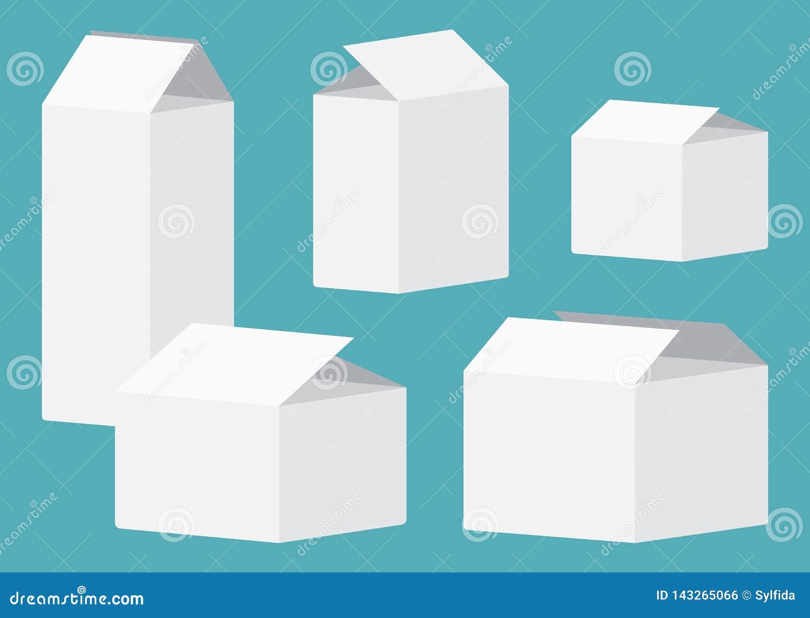 Placez des caisses d emballage ouvertes blanches Illustration de vecteur
