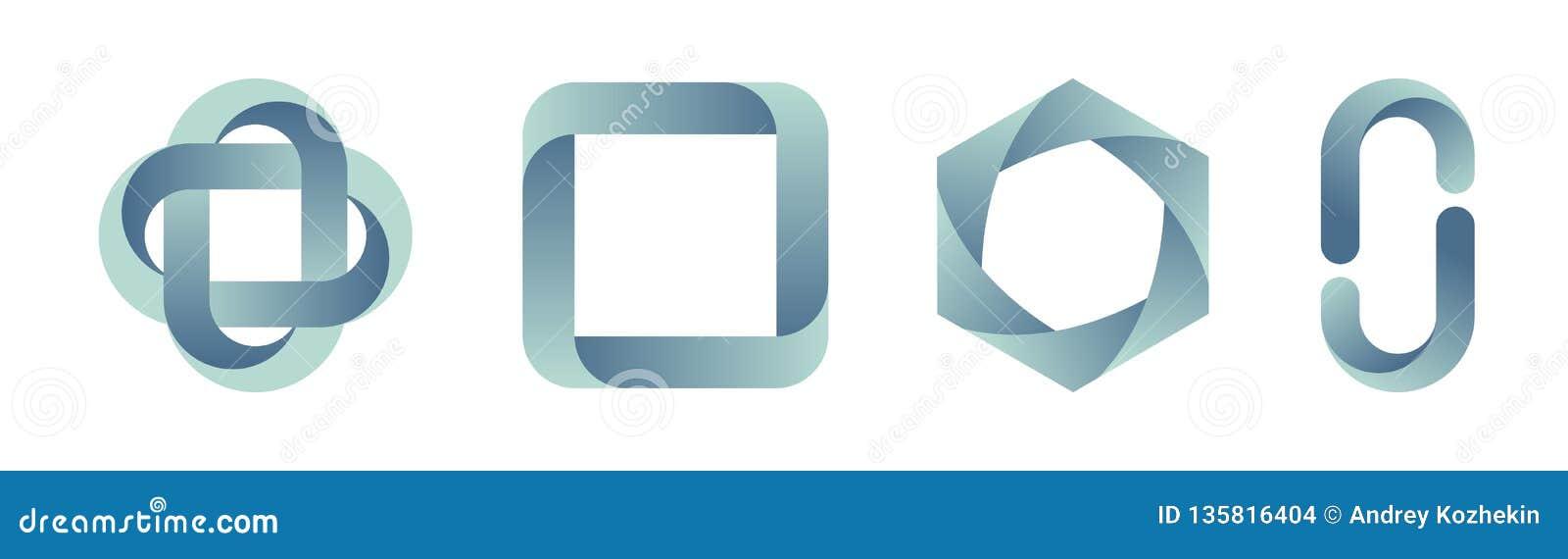 Placez des calibres de logos de gradient Illustration de couleur de vecteur