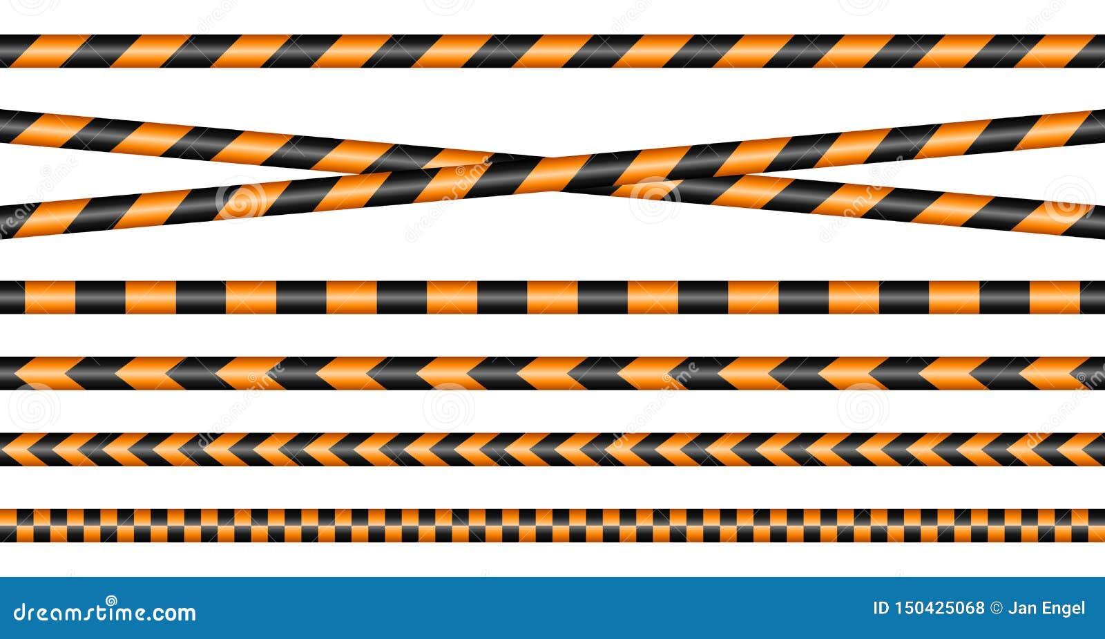 Placez des différentes bandes de barrière noir et orange