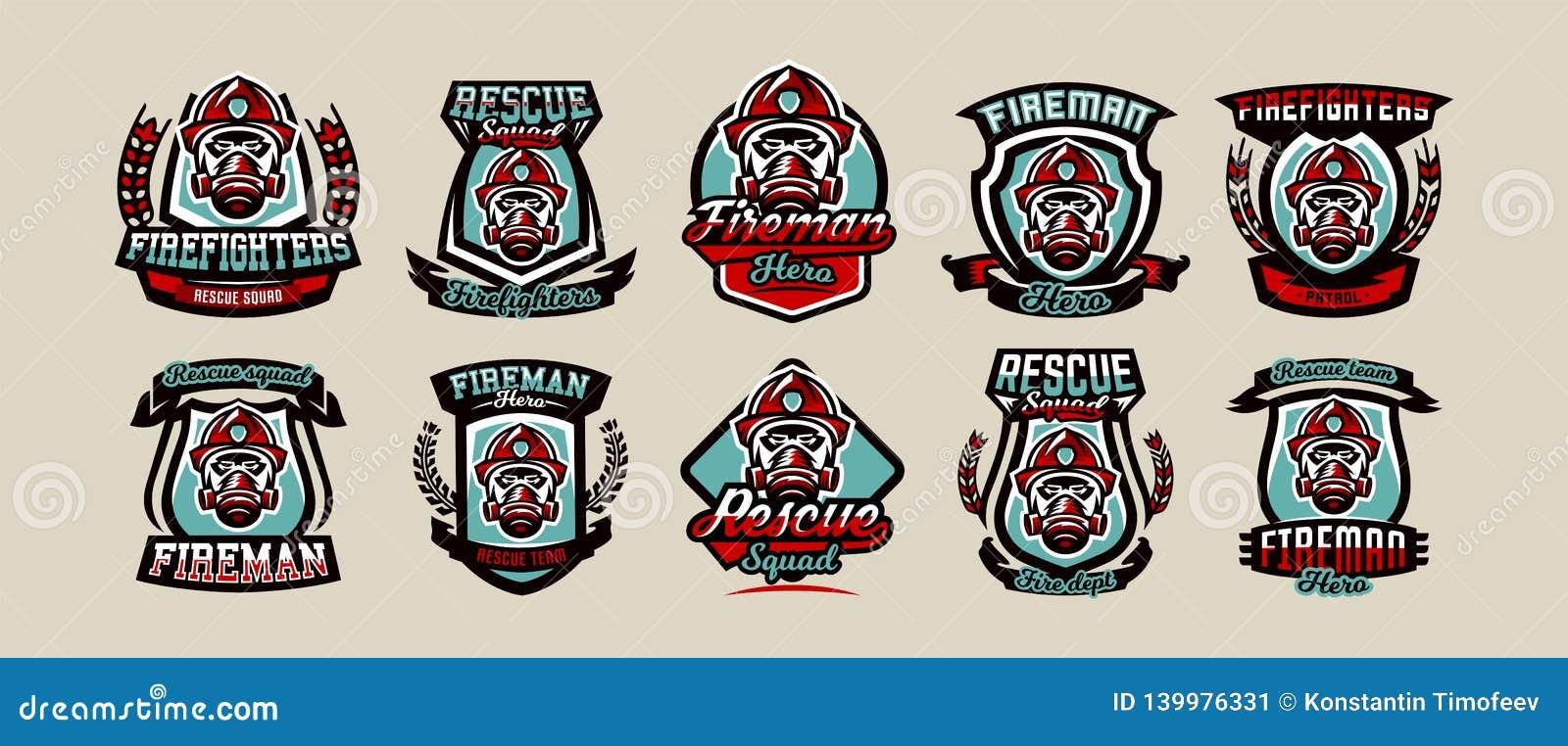 Placez des emblèmes, des icônes, des logos, du corps de sapeurs-pompiers, du sapeur-pompier, du casque et du masque colorés, illu