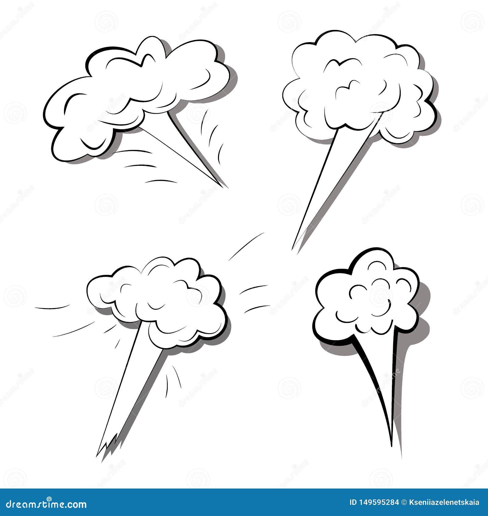 Placez des explosions d isolement sur le fond blanc Illustration monochrome de vecteur des bombes ?clat?es Effets comiques de fum