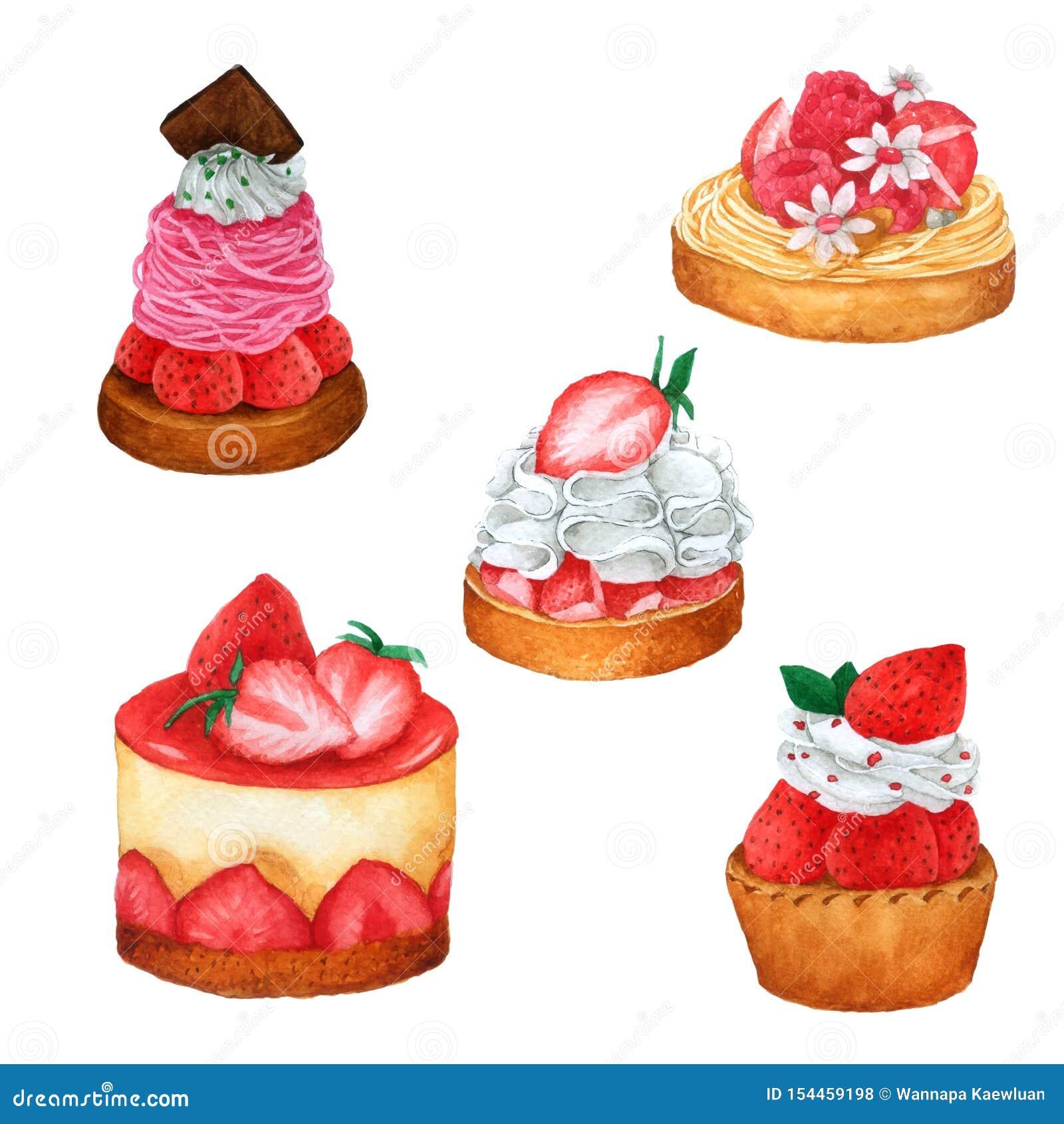 Placez des g?teaux d aquarelle Tir? par la main pour la carte de voeux, l emballage, la boutique de boulangerie et plus