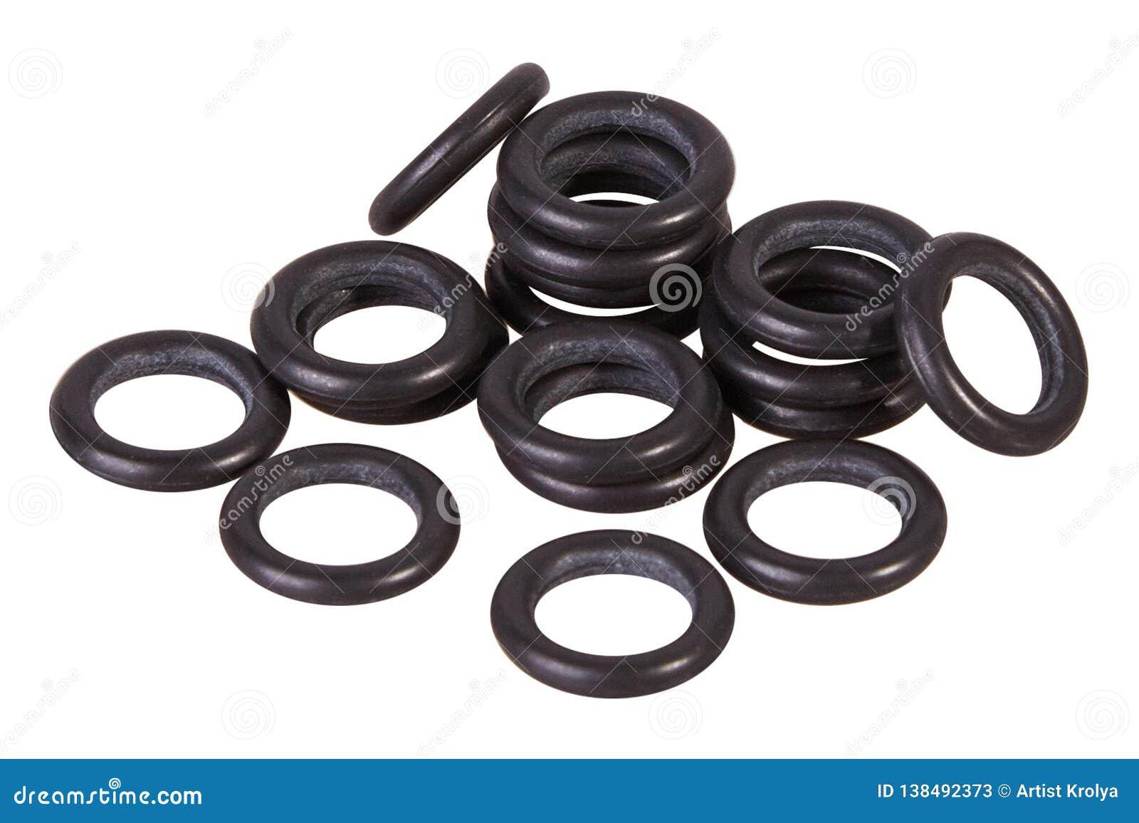 Placez des garnitures noires d isolement Joints pour les cylindres hydrauliques pour industriel sur le fond blanc