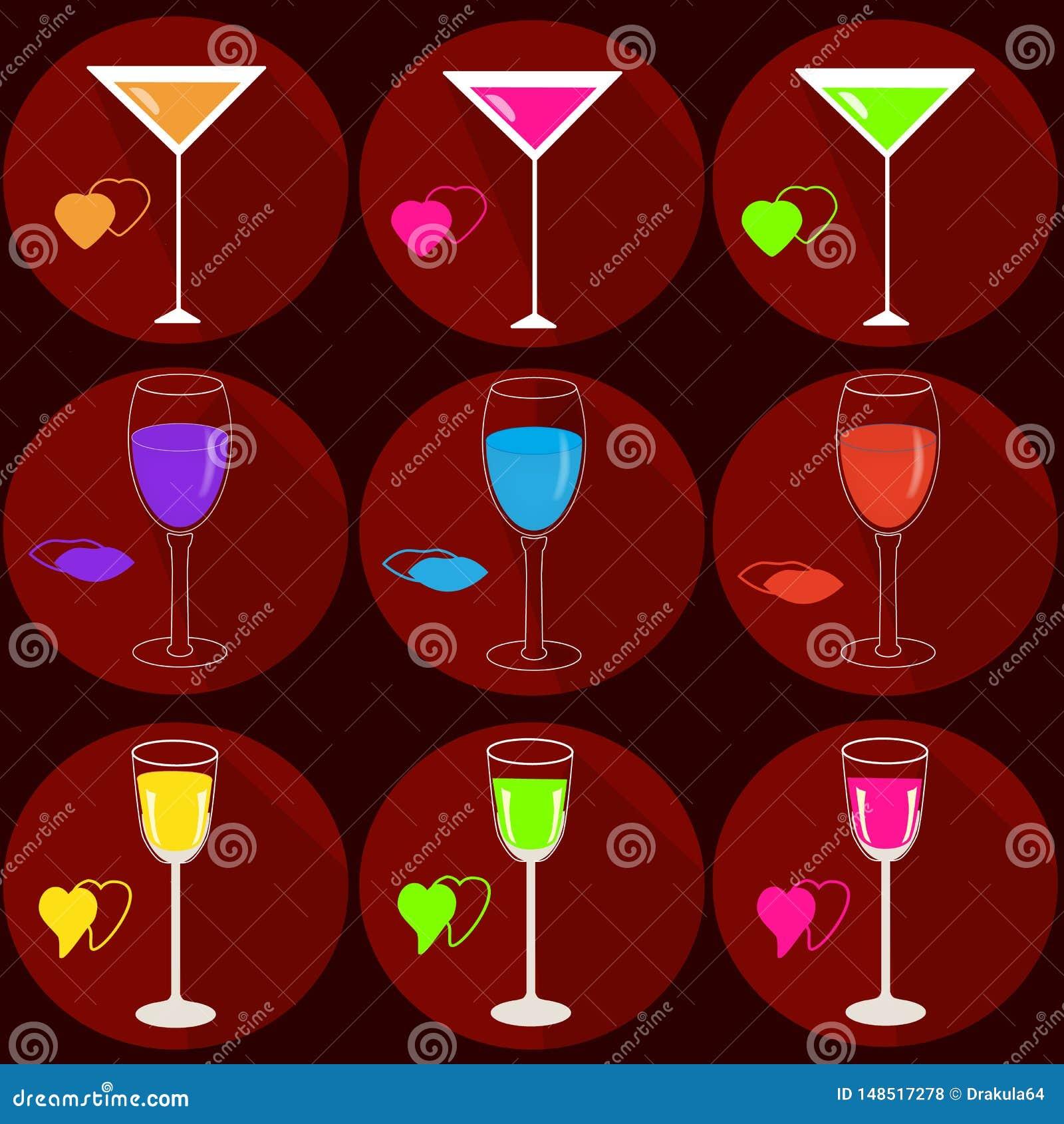 Placez des icônes avec des boissons