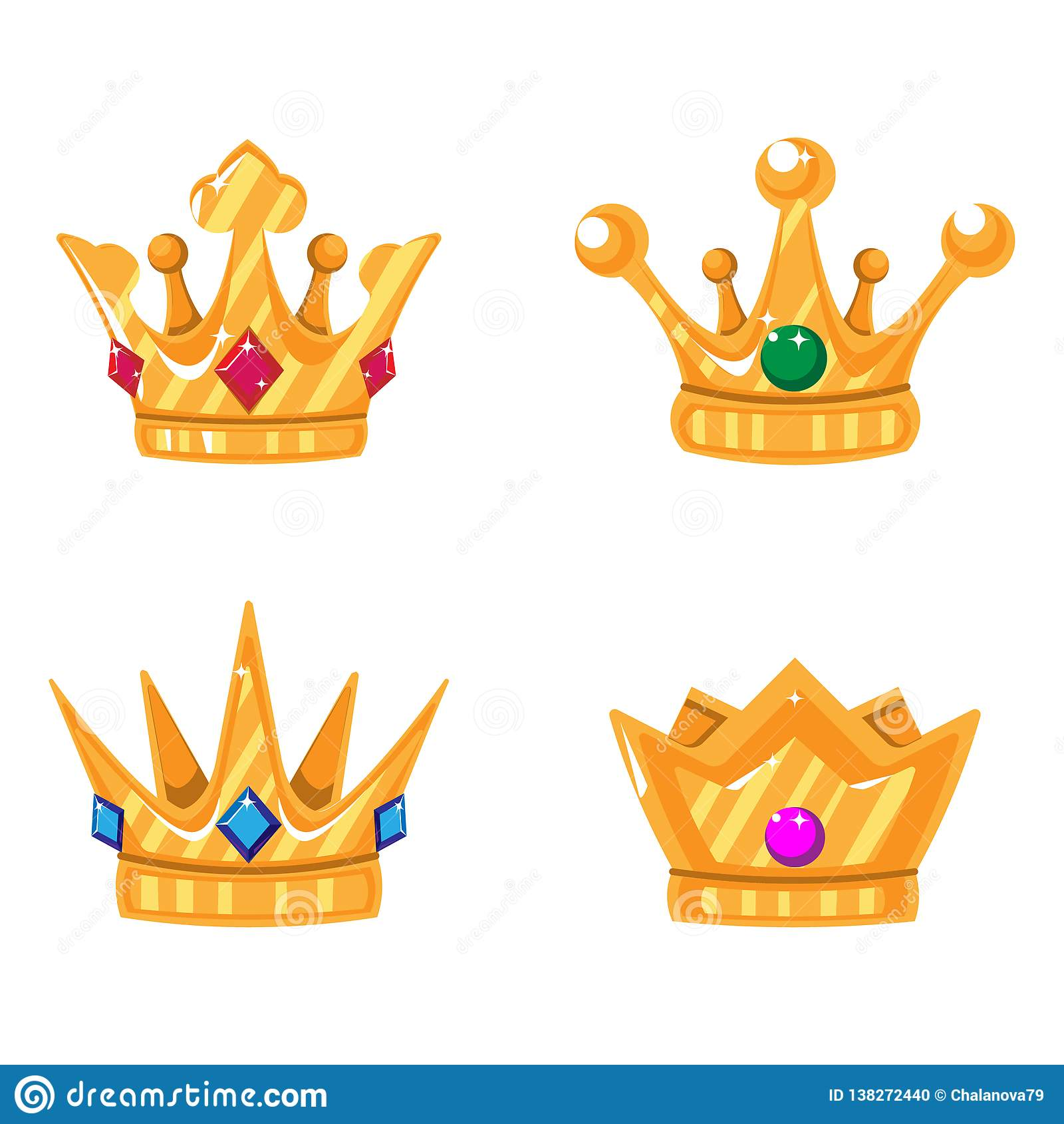 Placez des icônes de couronne d or avec des gemmes Dirigez les éléments d isolement pour le logo, label, jeu, hôtel, une concepti