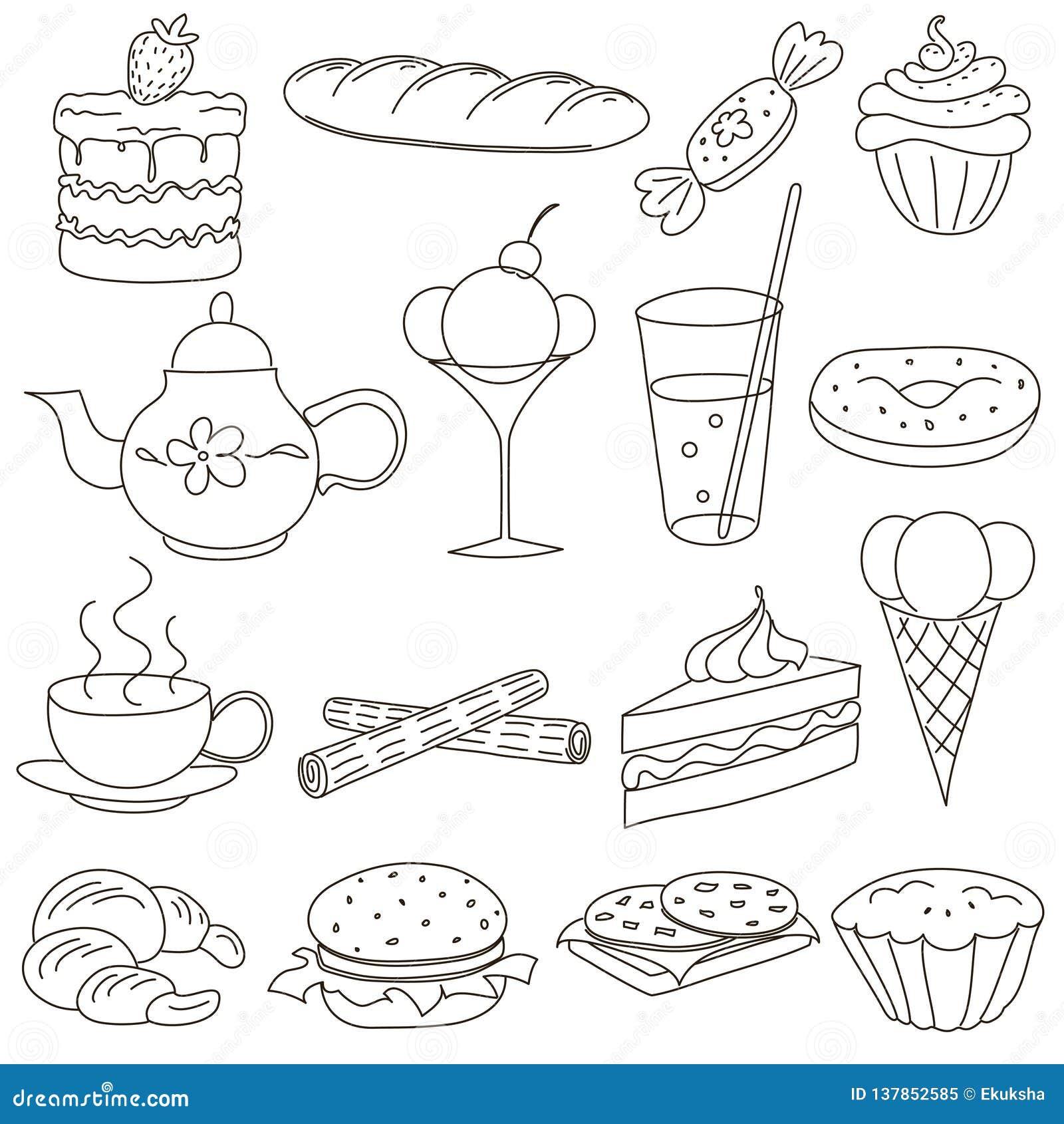Placez des icônes de griffonnage d ensemble pour le thé