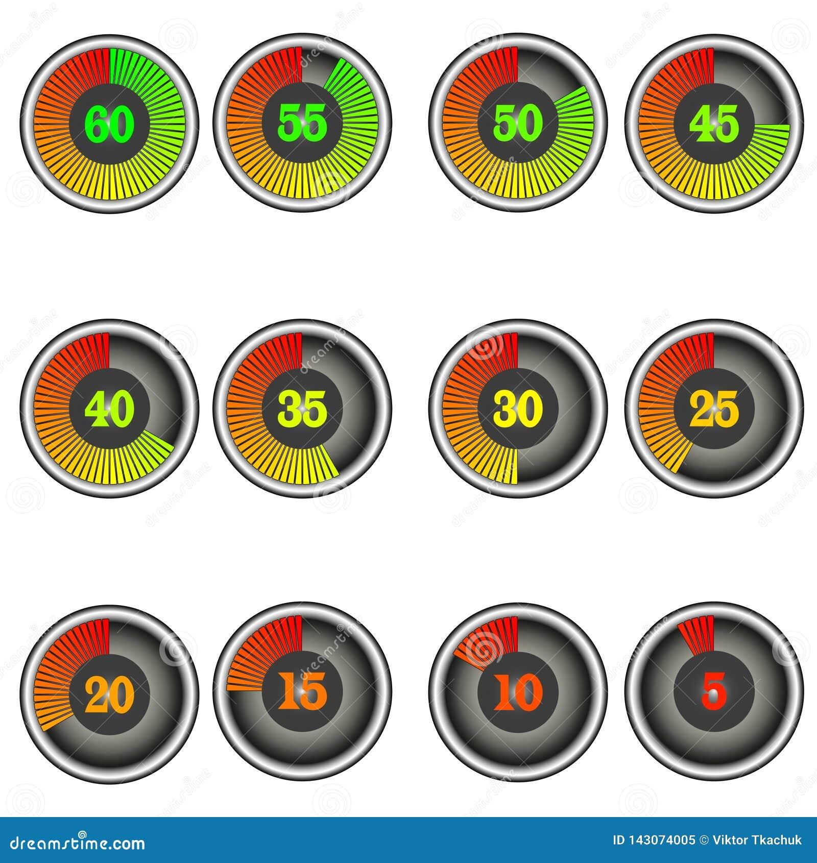 Placez des icônes de minuterie de chronomètre de couleur avec des marques de 60 à 0