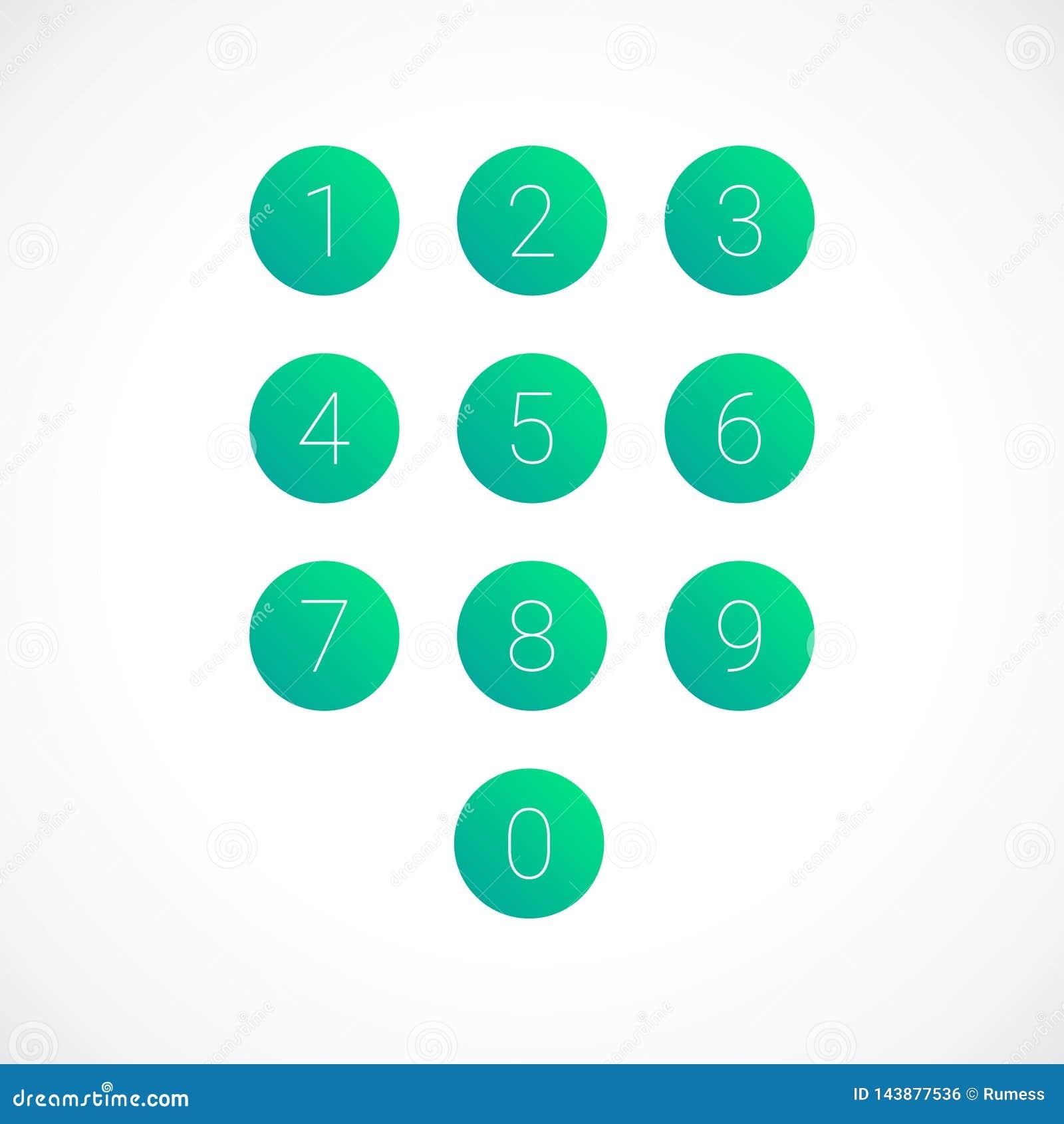Placez des icônes de nombre du rond 0-9 Illustration de vecteur