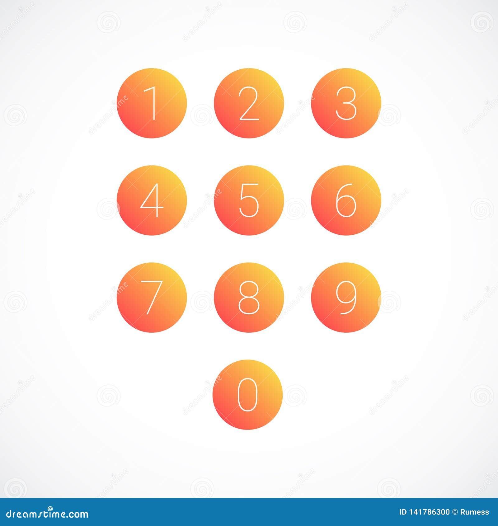 Placez des icônes de nombre rond Illustration de vecteur