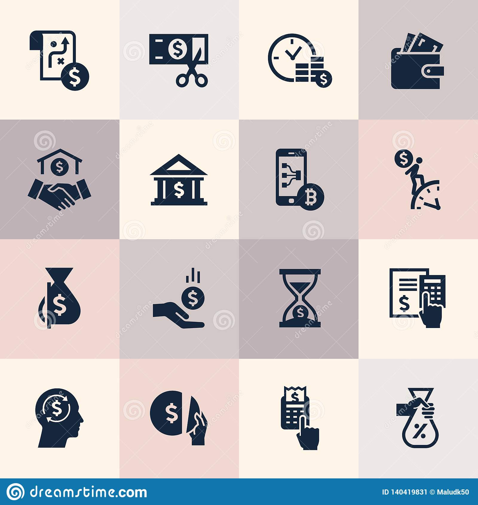 Placez des icônes plates de concept de construction pour des finances, des opérations bancaires, des affaires, le paiement, et de