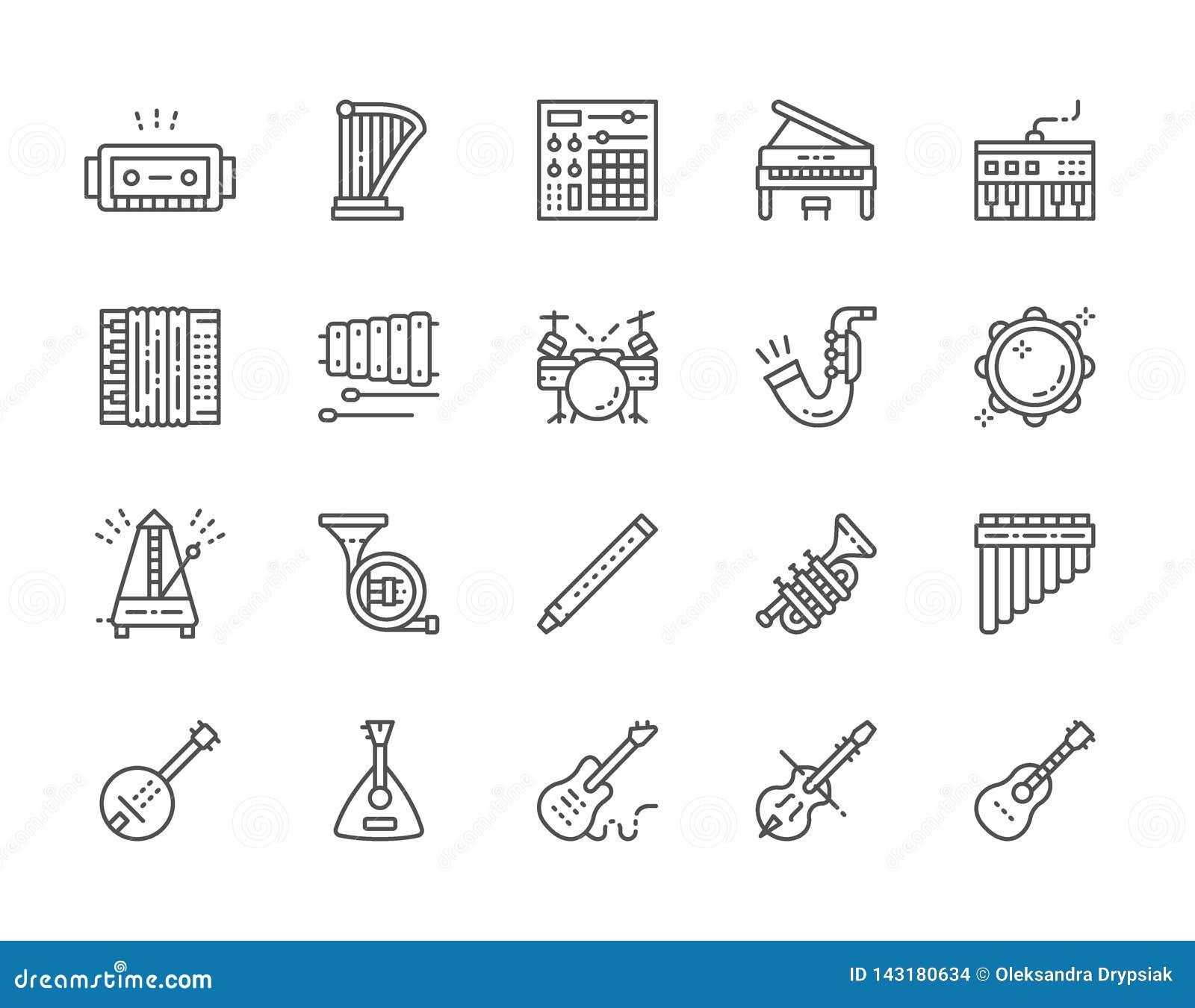 Placez des instruments de musique rayent des icônes Piano, accordéon, violon, guitare et plus