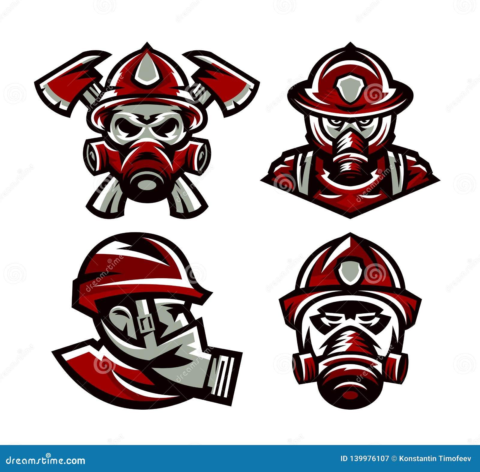 Placez des logos colorés corps de sapeurs-pompiers, pompier, crâne, sapeur-pompier de masque, haches, illustration d isolement de