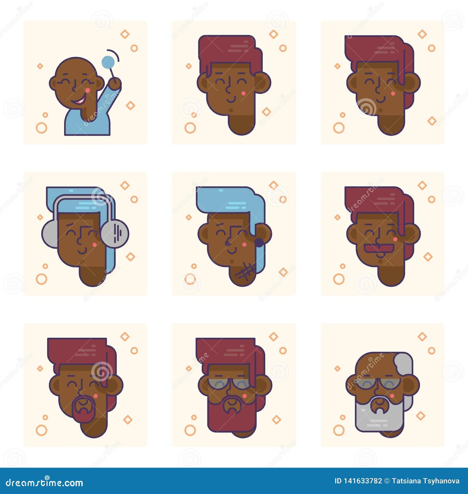 Placez des pictogrammes avec une personne d afro-américain de différents âges Du bébé garçon au concept adulte de vecteur d homme