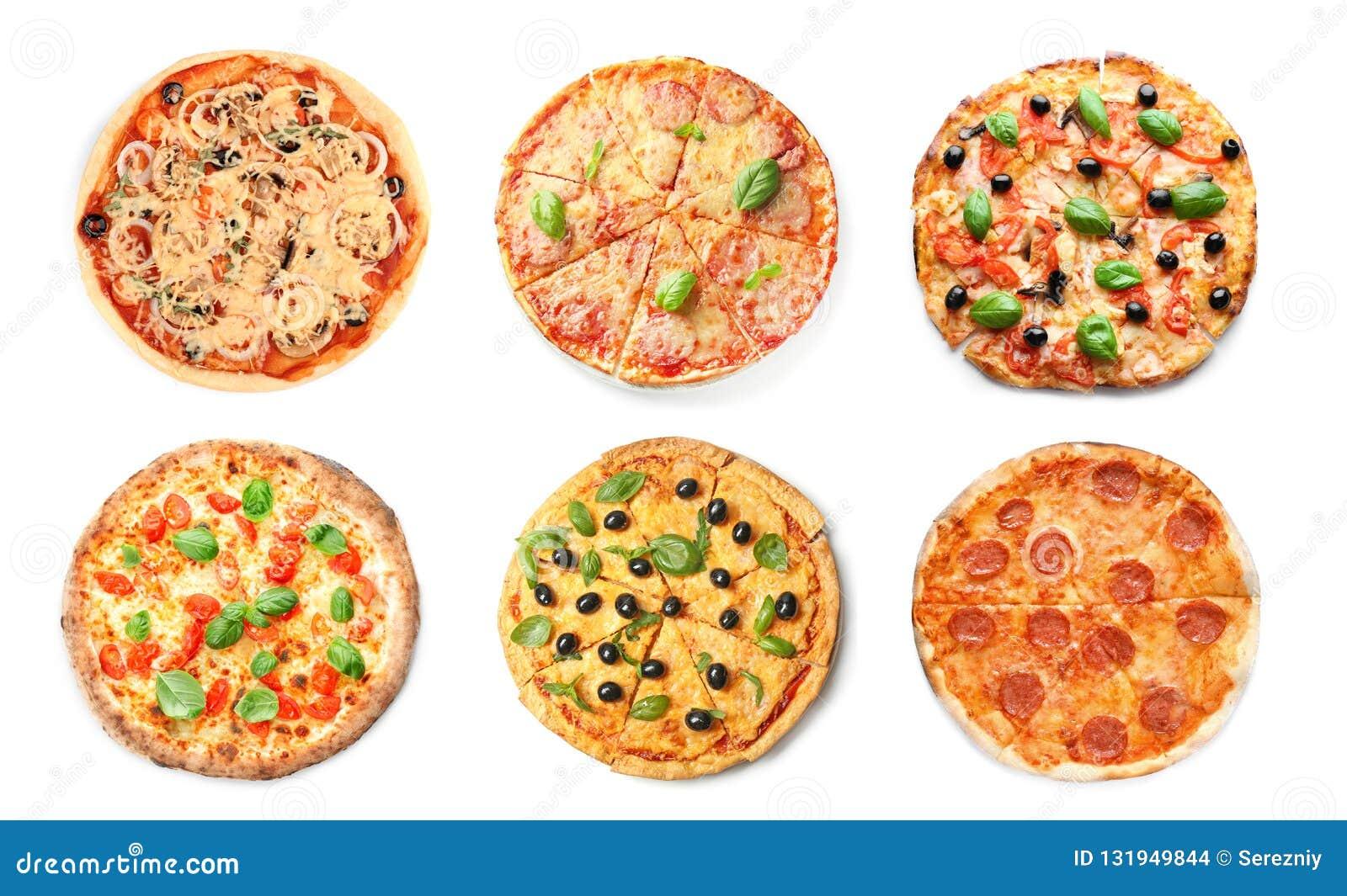 Placez des pizzas italiennes savoureuses sur le fond blanc