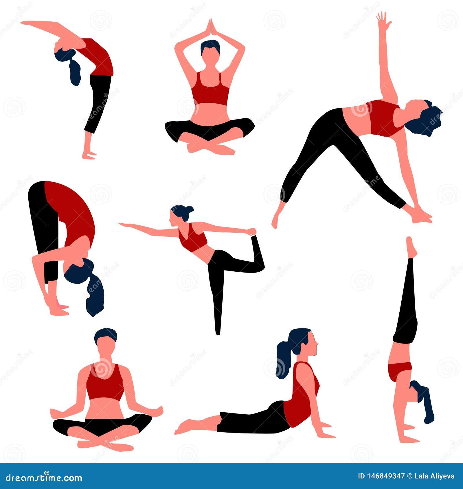 Placez des poses d aérobic et de yoga Vecteur