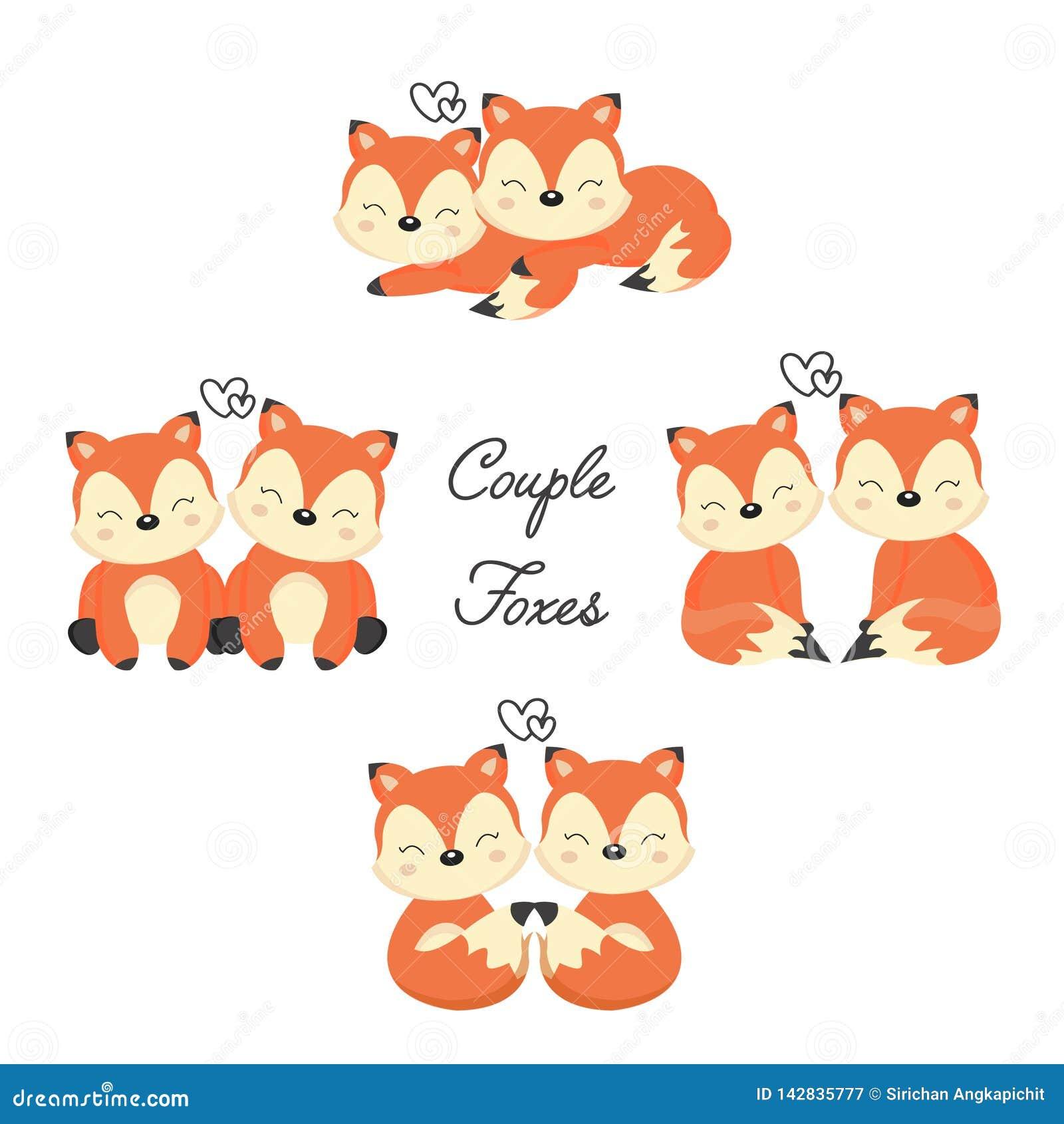Placez des renards mignons de couples dans l amour Animal de région boisée dans le style de bande dessinée