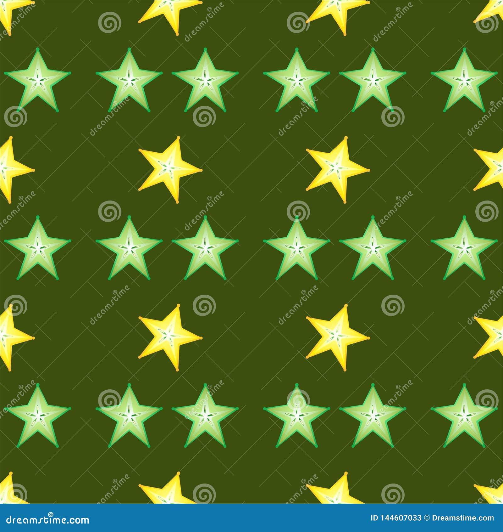 Placez des slieces de calambol sur le fond vert