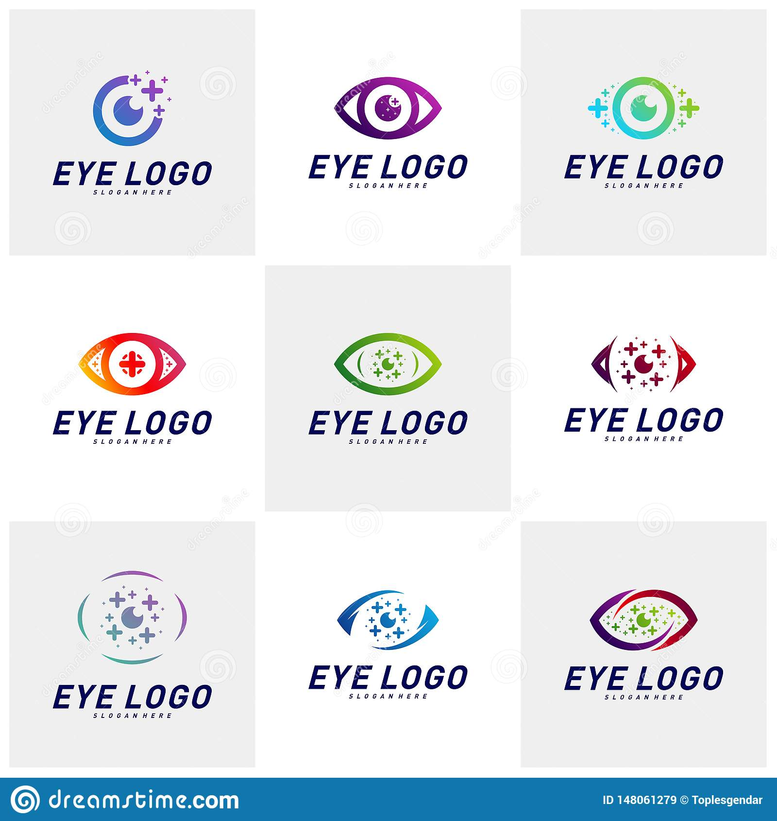 Placez des yeux avec le vecteur de concept de construction de logo de sant? d ic?nes Calibre de logo d oeil de sant? Symbole d ic