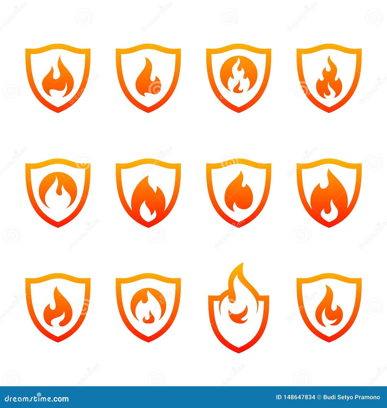 Placez du bouclier Logo Design Vector Template du feu Le feu Logo Concept de bouclier Symbole d ic?ne