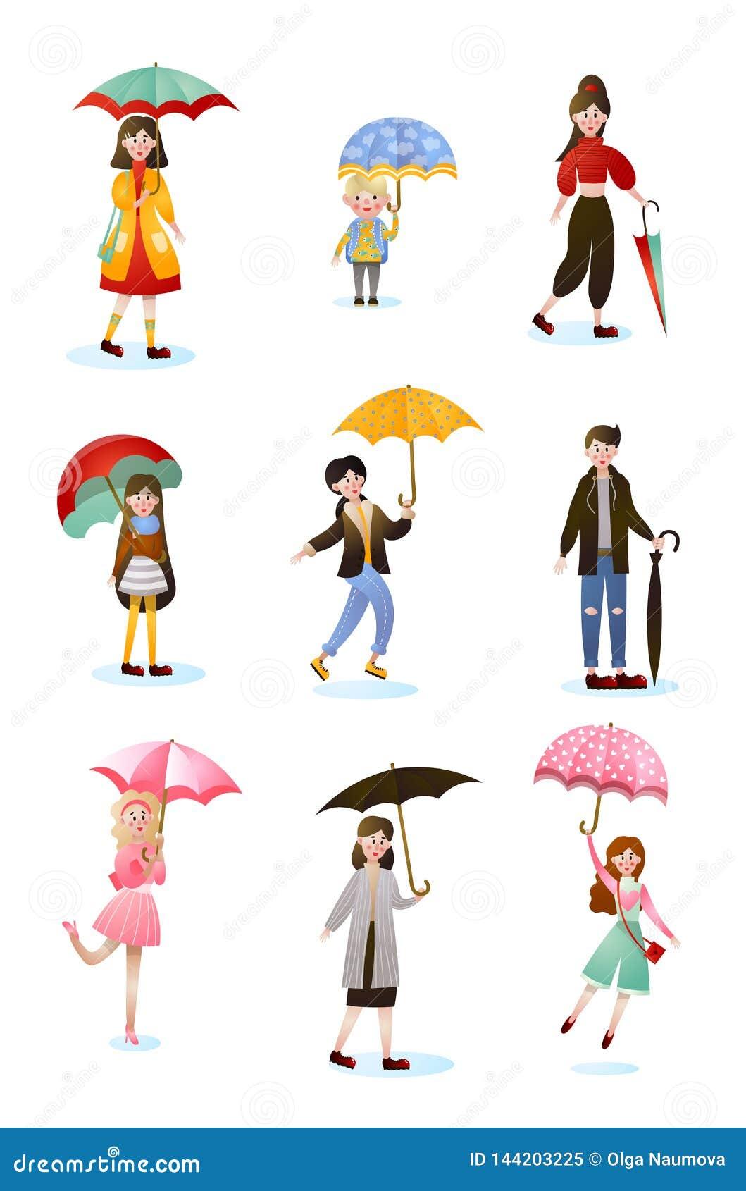 Placez du caractère de sourire de personnes de différents âges avec des parapluies