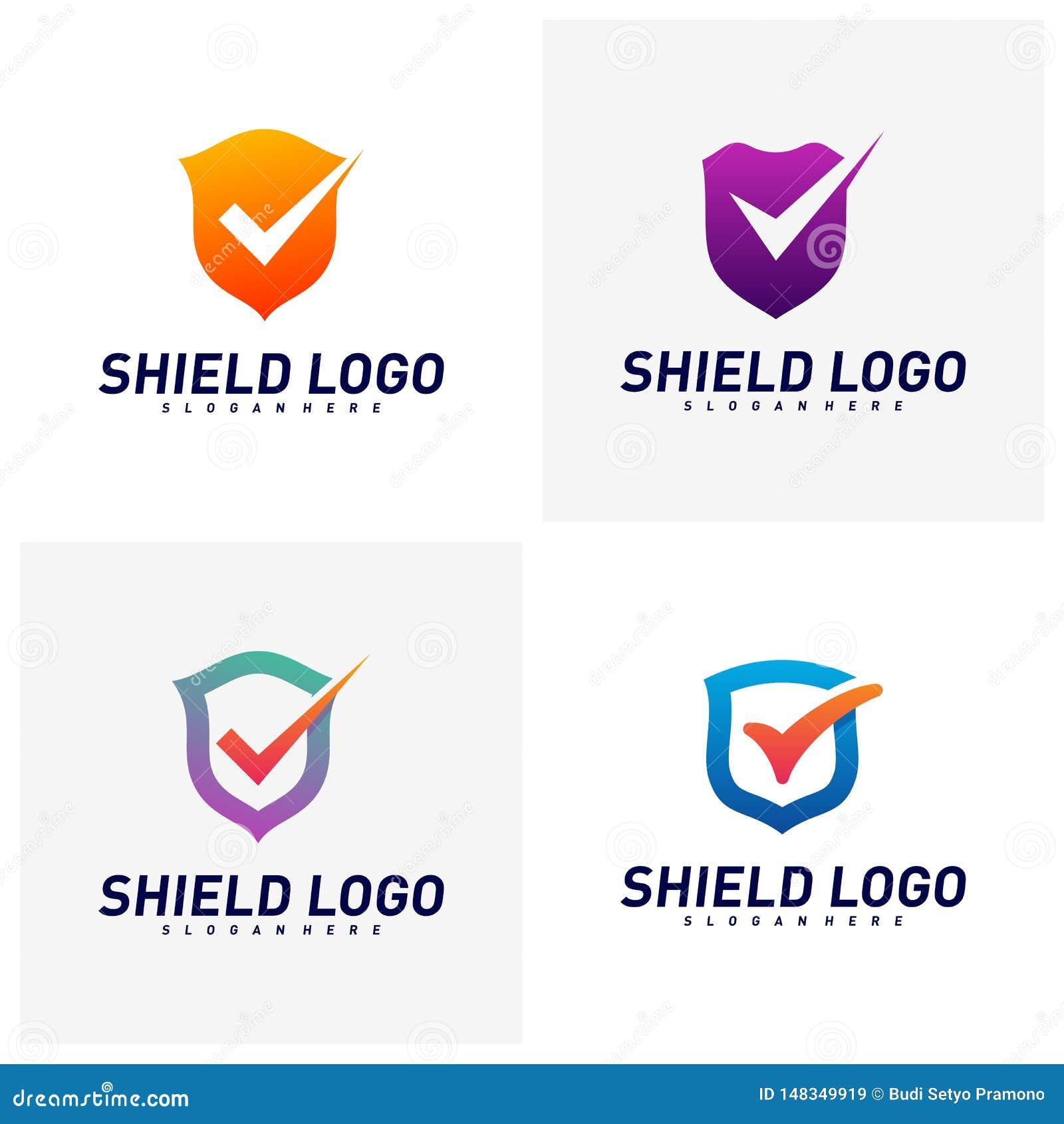Placez du contrôle Logo Design Concept Vector de bouclier Conception d illustration de vecteur de qualit? de bouclier Symbole d i