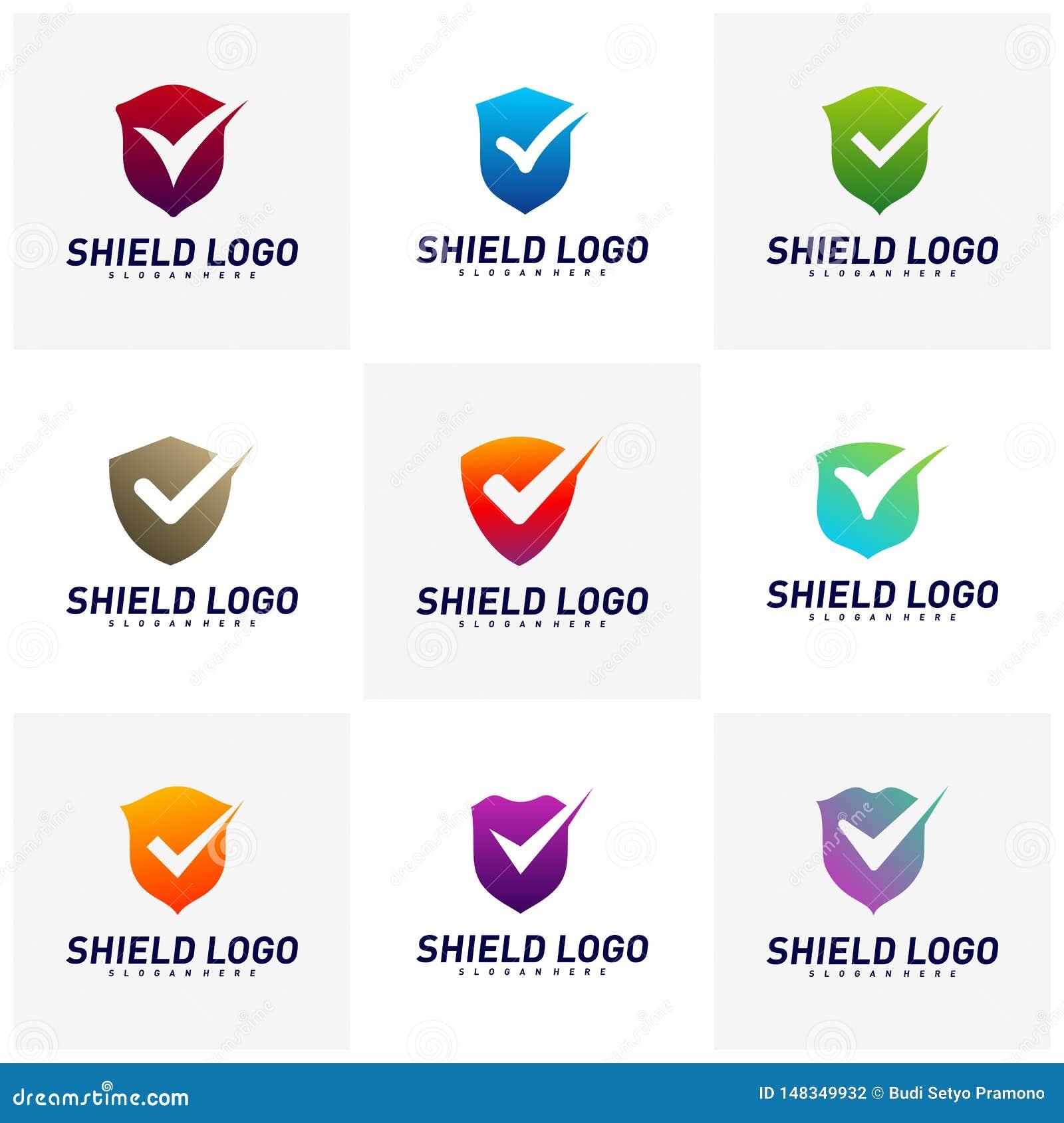 Placez du contr?le Logo Design Concept Vector de bouclier Conception d illustration de vecteur de qualit? de bouclier Symbole d i