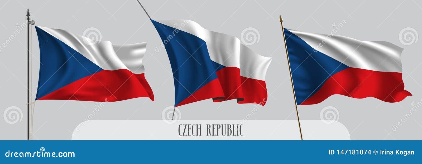 Placez du drapeau de ondulation de République Tchèque sur l illustration d isolement de vecteur de fond