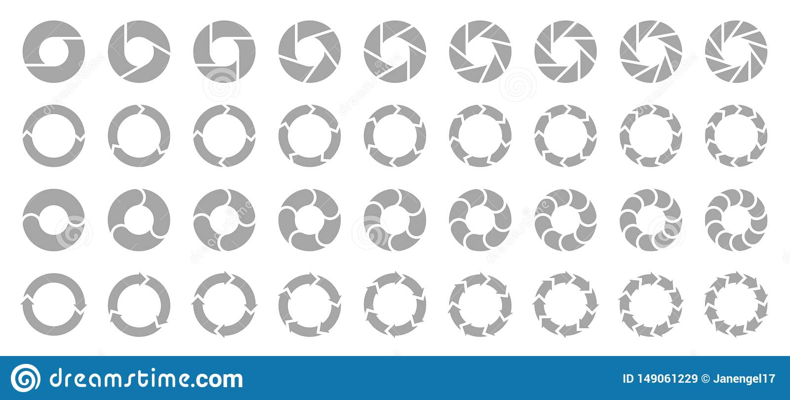 Placez du gris différent de flèches de diagrammes en secteurs