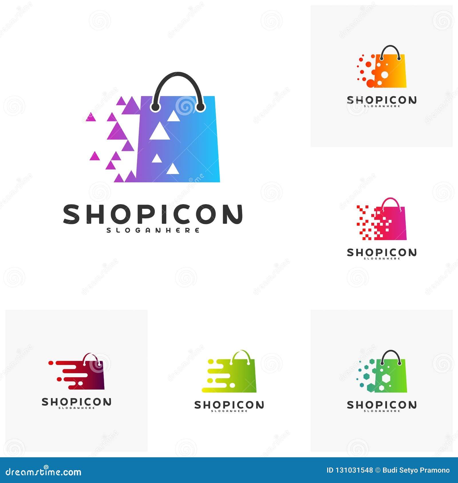 Placez du marché en ligne Logo Template Design Vector, magasin Logo Design Element de magasin de magasin de pixel