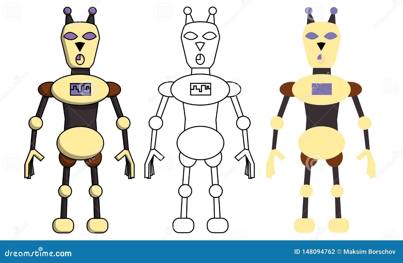 Placez du robot dans le style différent Illustration courante d isolement de vecteur