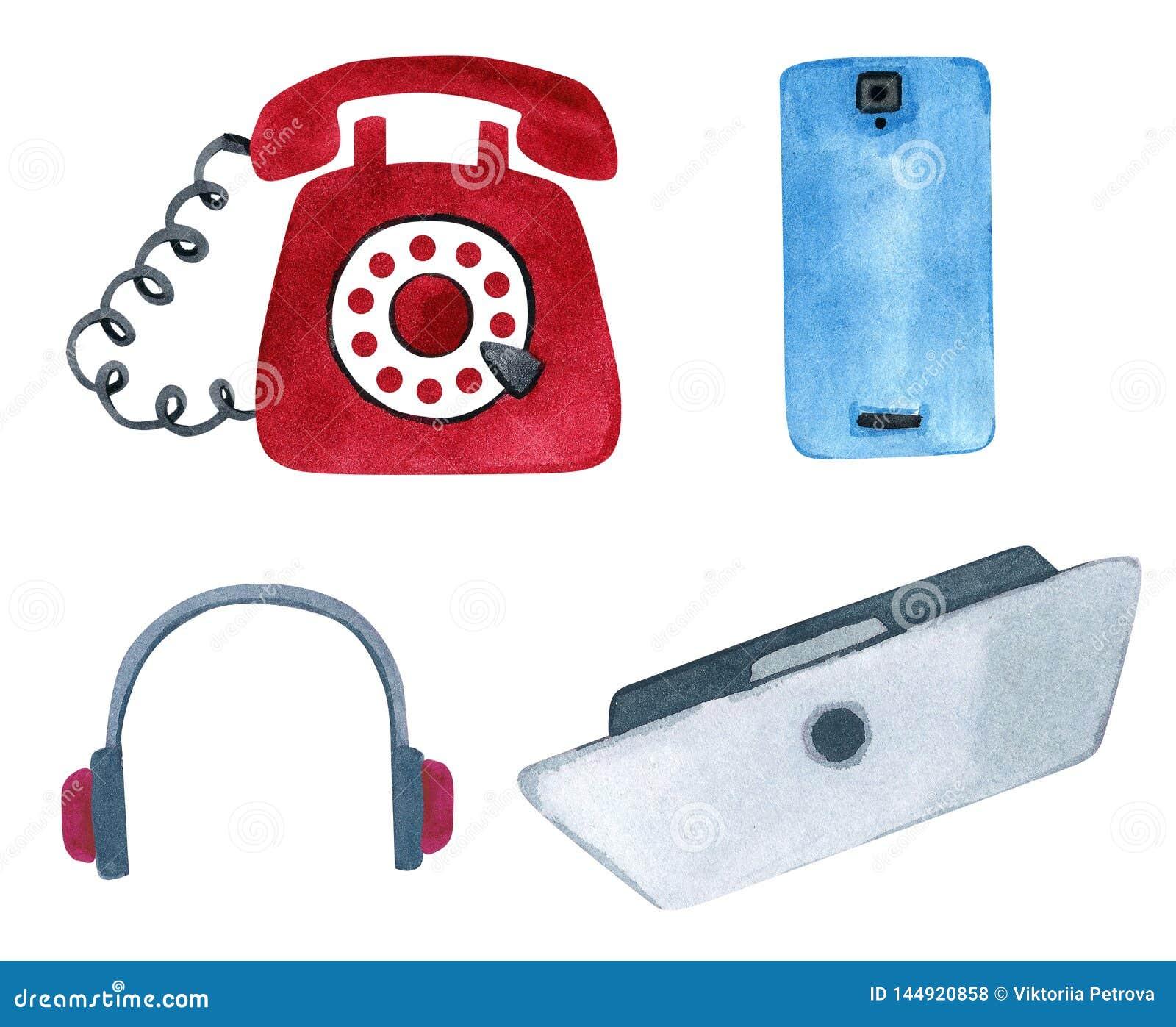 Placez du téléphone et le téléphone moderne de cru, l ordinateur portable et les écouteurs
