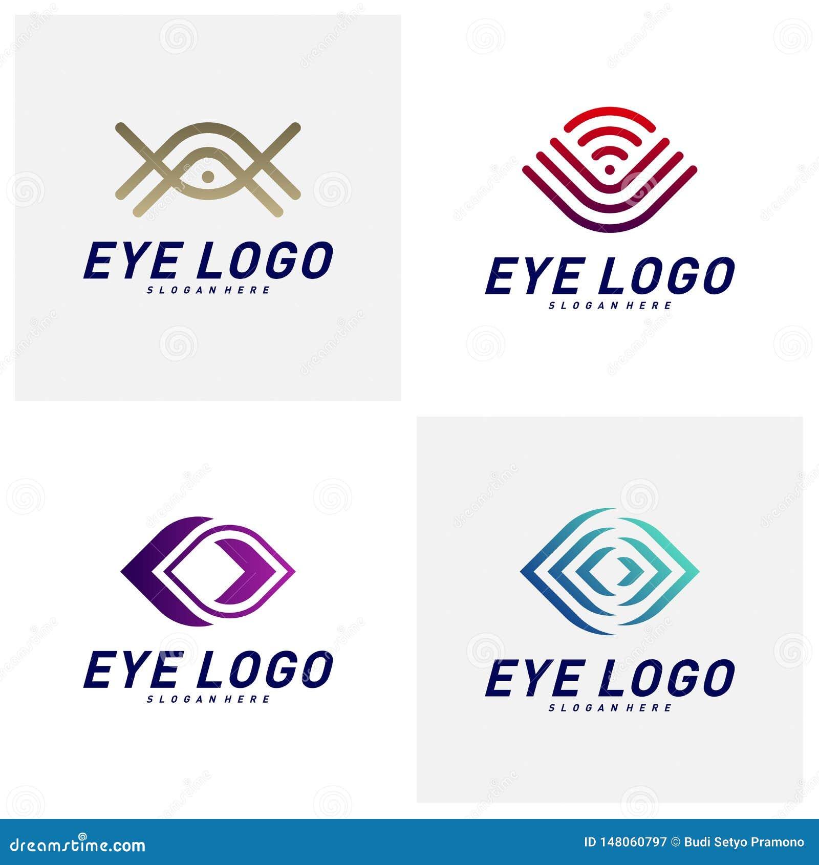 Placez du vecteur de concept de construction de logo d oeil, calibre de logo d oeil, symbole d ic?ne