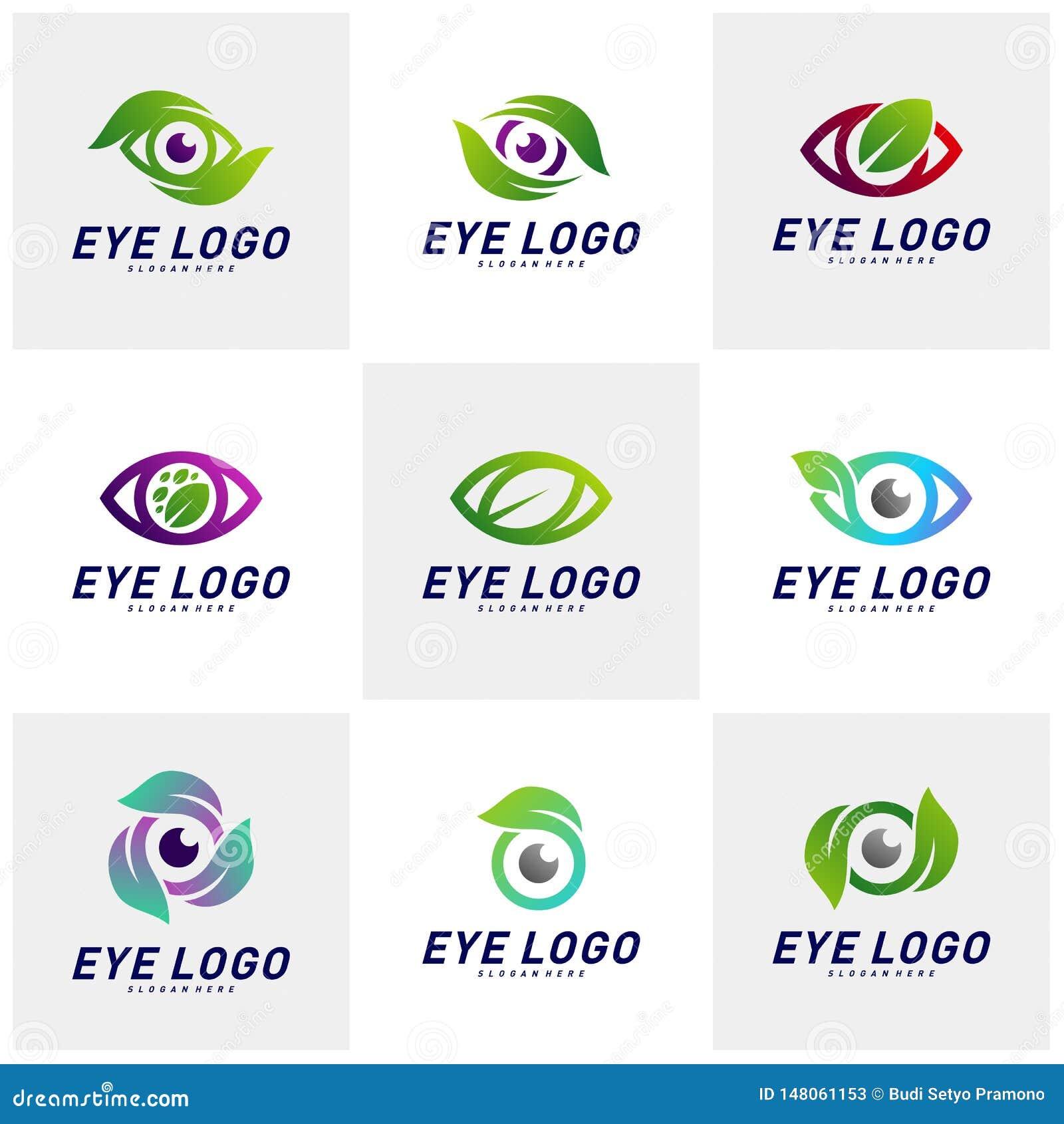 Placez du vecteur de concept de construction de logo d oeil de nature, oeil avec le calibre de logo de feuille, symbole d ic?ne