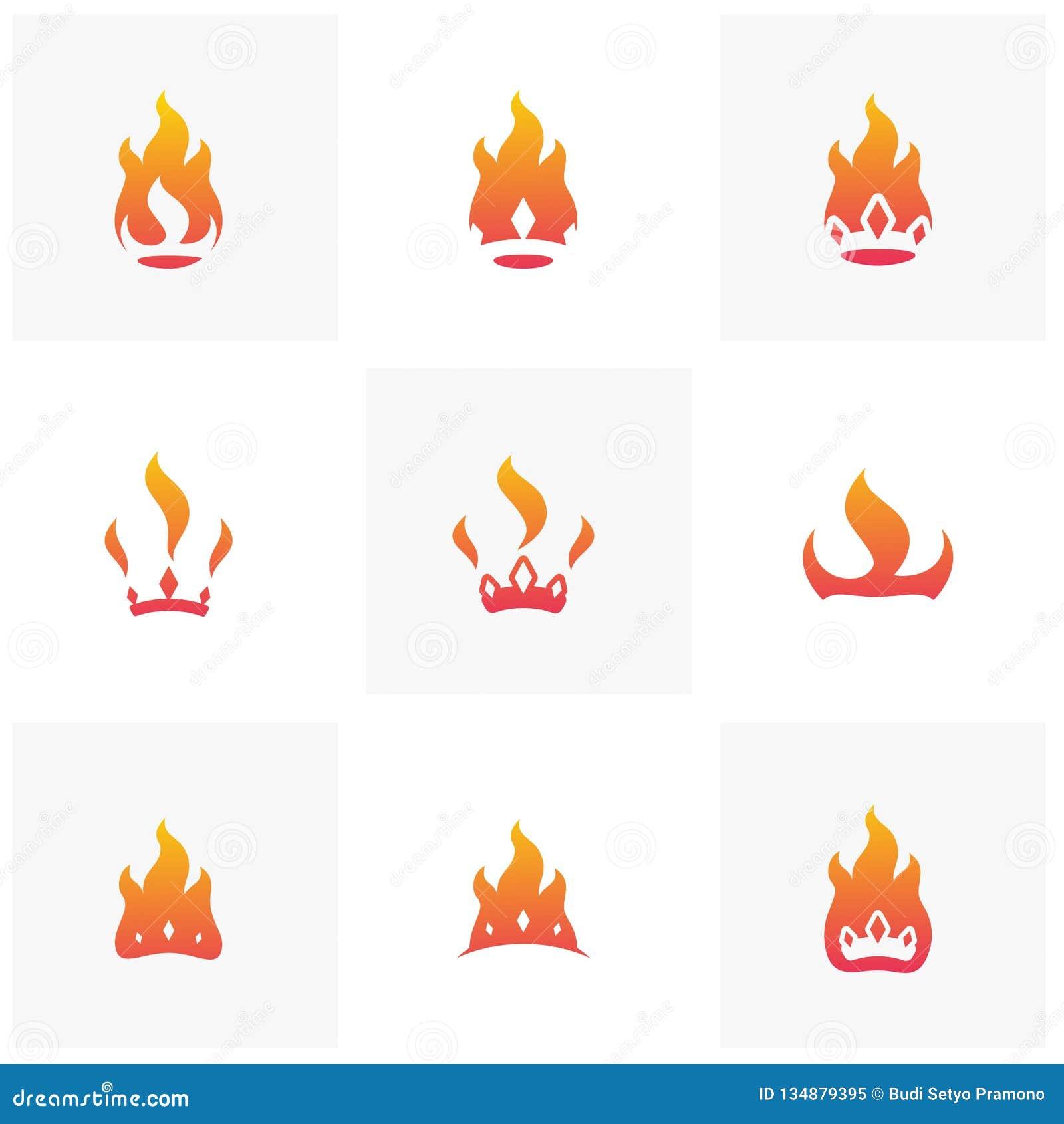 Placez du vecteur de concept de constructions de logo de couronne du feu Calibre de logo de couronne de flamme Vecteur de couronn