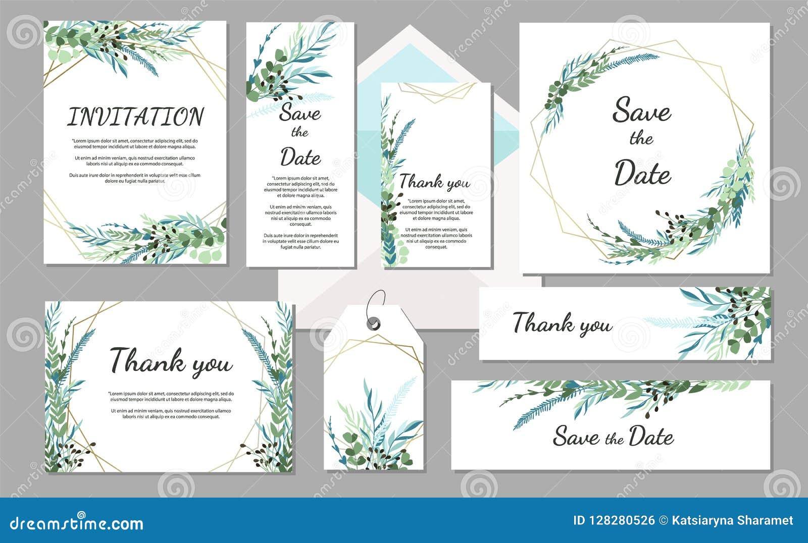 Placez la carte de vintage d invitation de mariage avec des feuilles et des cadres géométriques