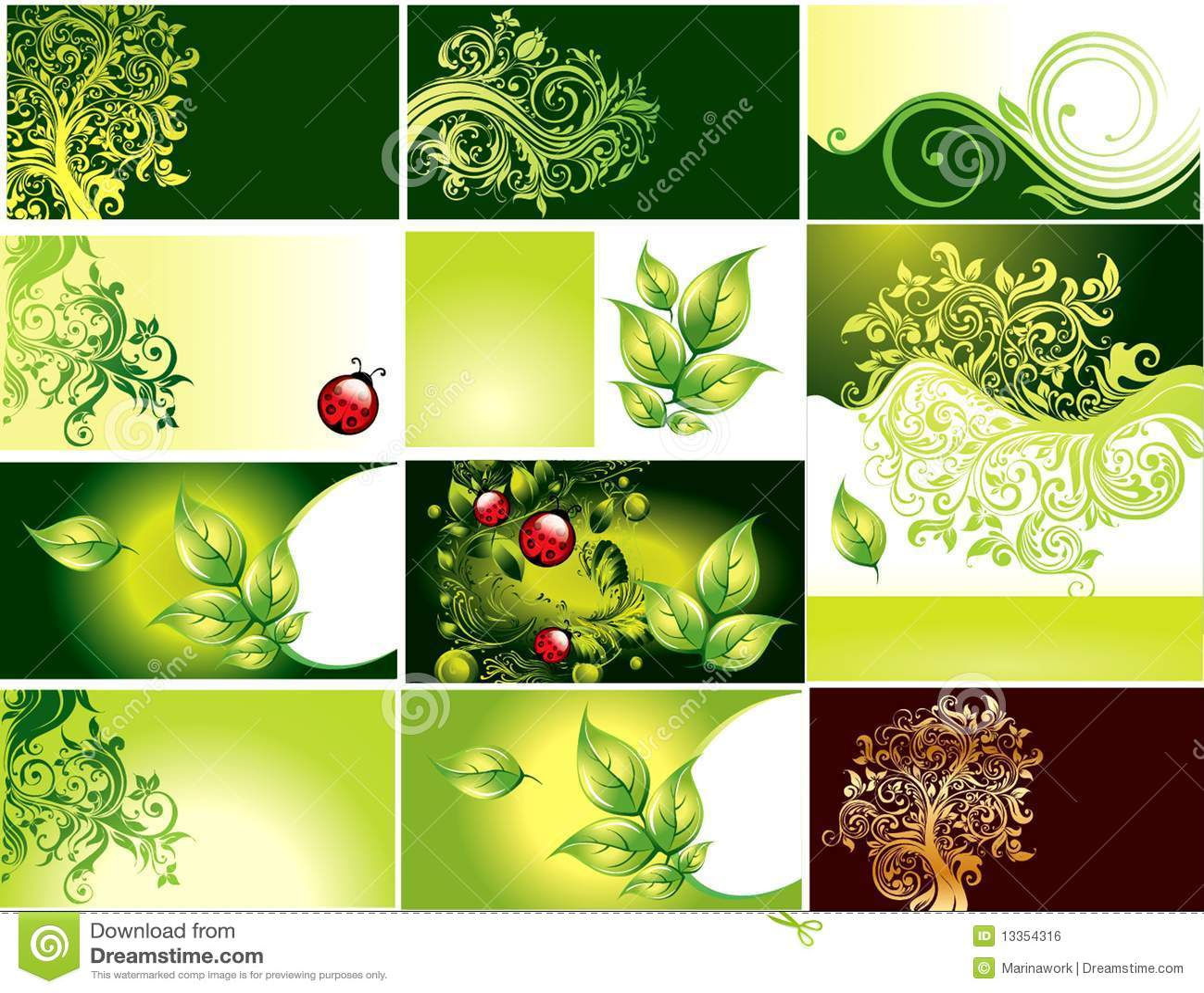 Placez La Carte De Visite Professionnelle Verte Avec Le Feuillage Vert
