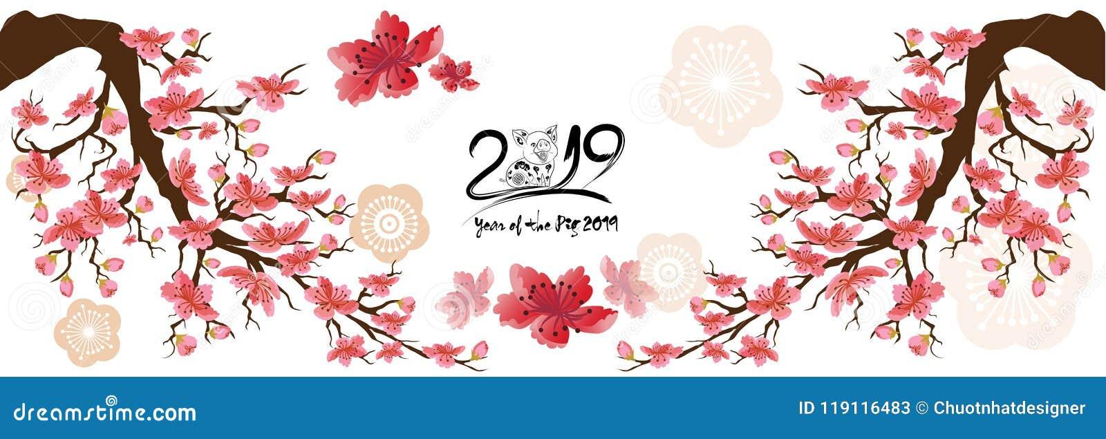 Placez la carte de voeux 2019 de bonne année de bannière et la nouvelle année chinoise du porc, fond de fleurs de cerisier