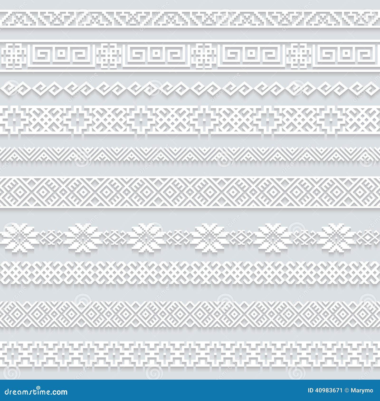 Placez la collection de frontières horizontales de dentelle blanche avec l ombre, lignes de papier ornementales