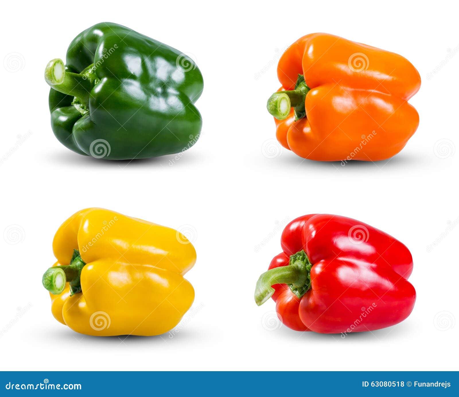 Download Placez La Collection De Poivrons De Légume Frais, De Vert, De Jaune, Rouges Et Oranges D'isolement Sur Un Fond Blanc Photo stock - Image du vivacité, soin: 63080518