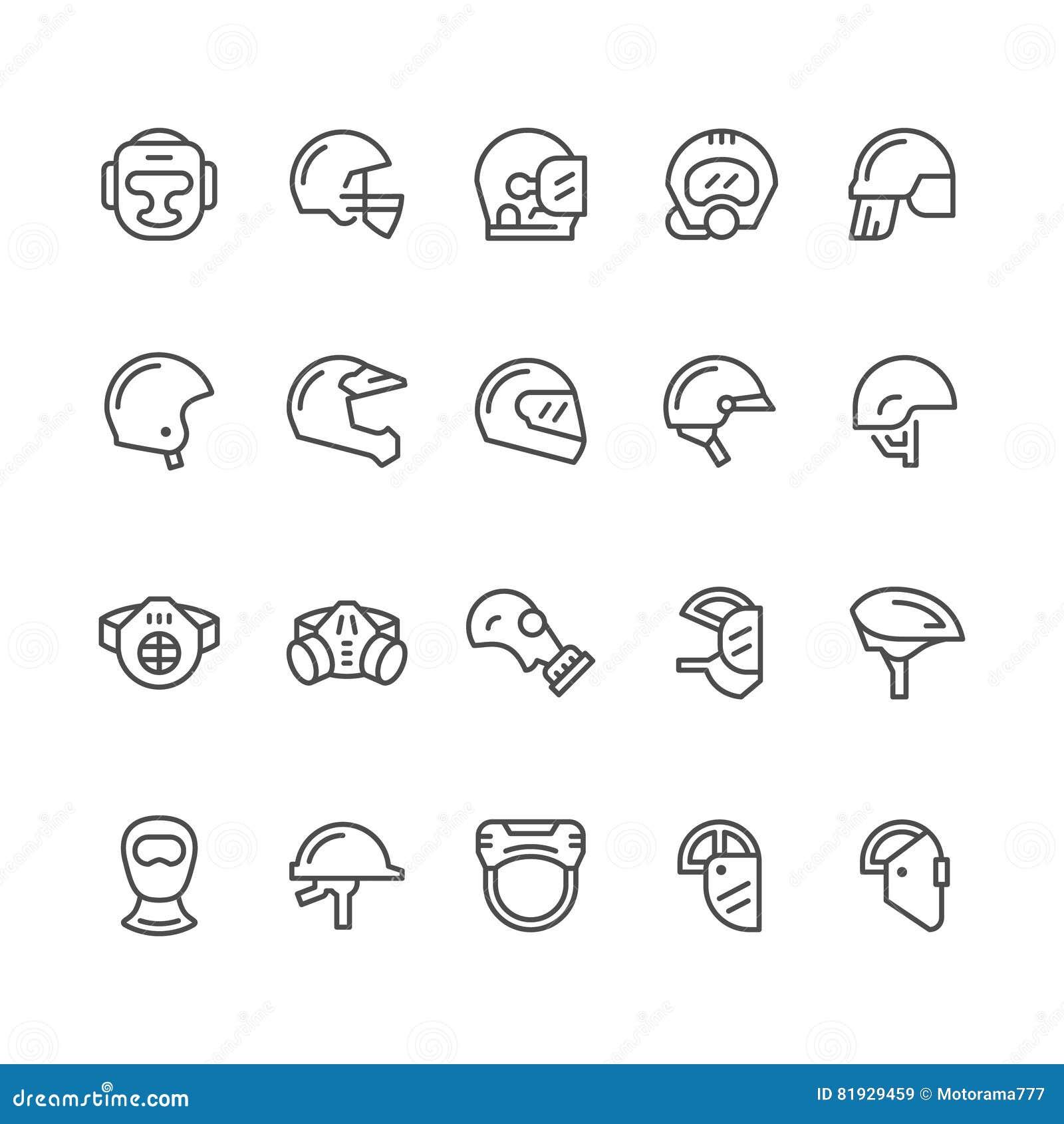 Placez la ligne icônes des casques et des masques