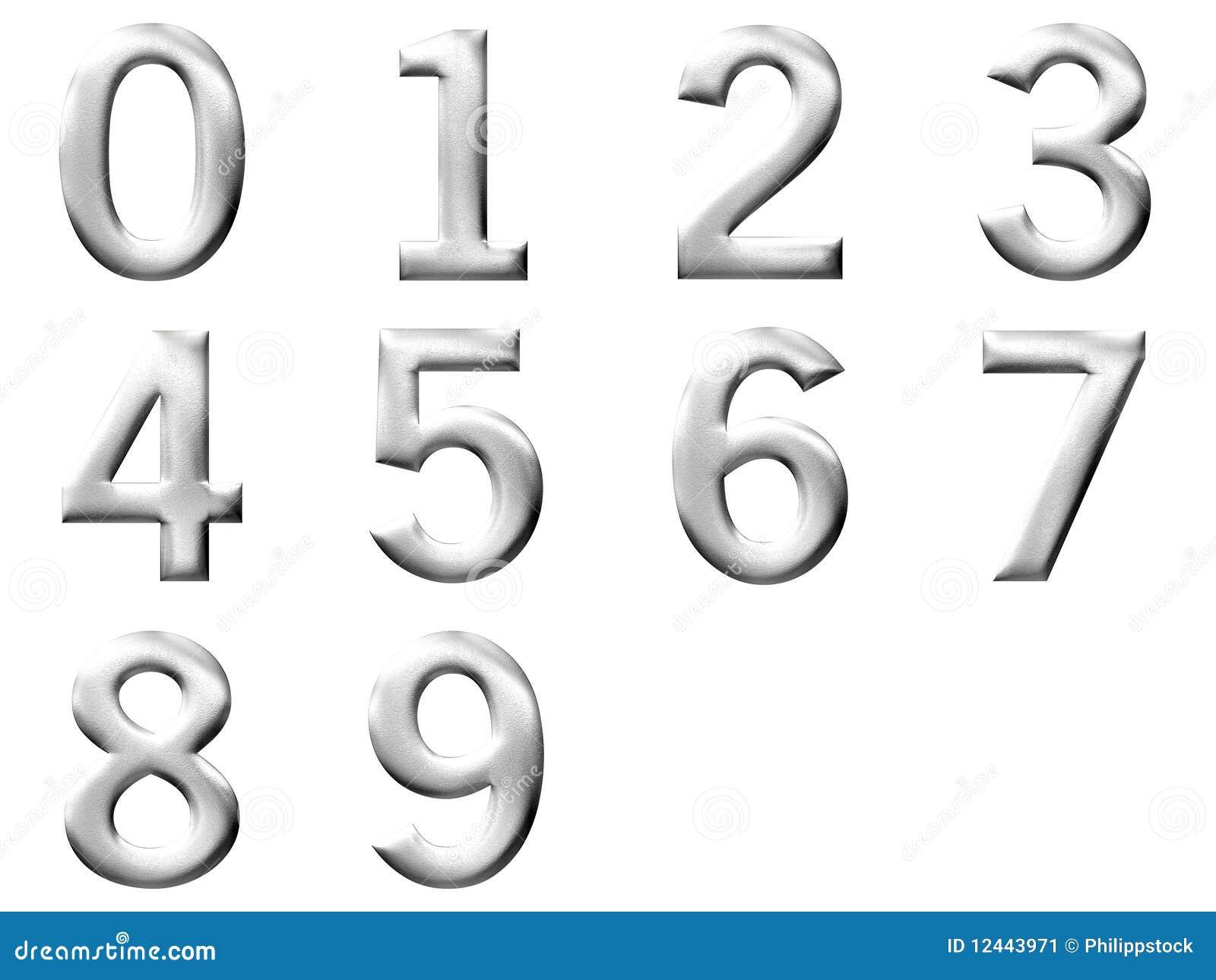 Placez le chiffre 3d argent d 39 isolement image stock - Chiffre en carton 3d ...
