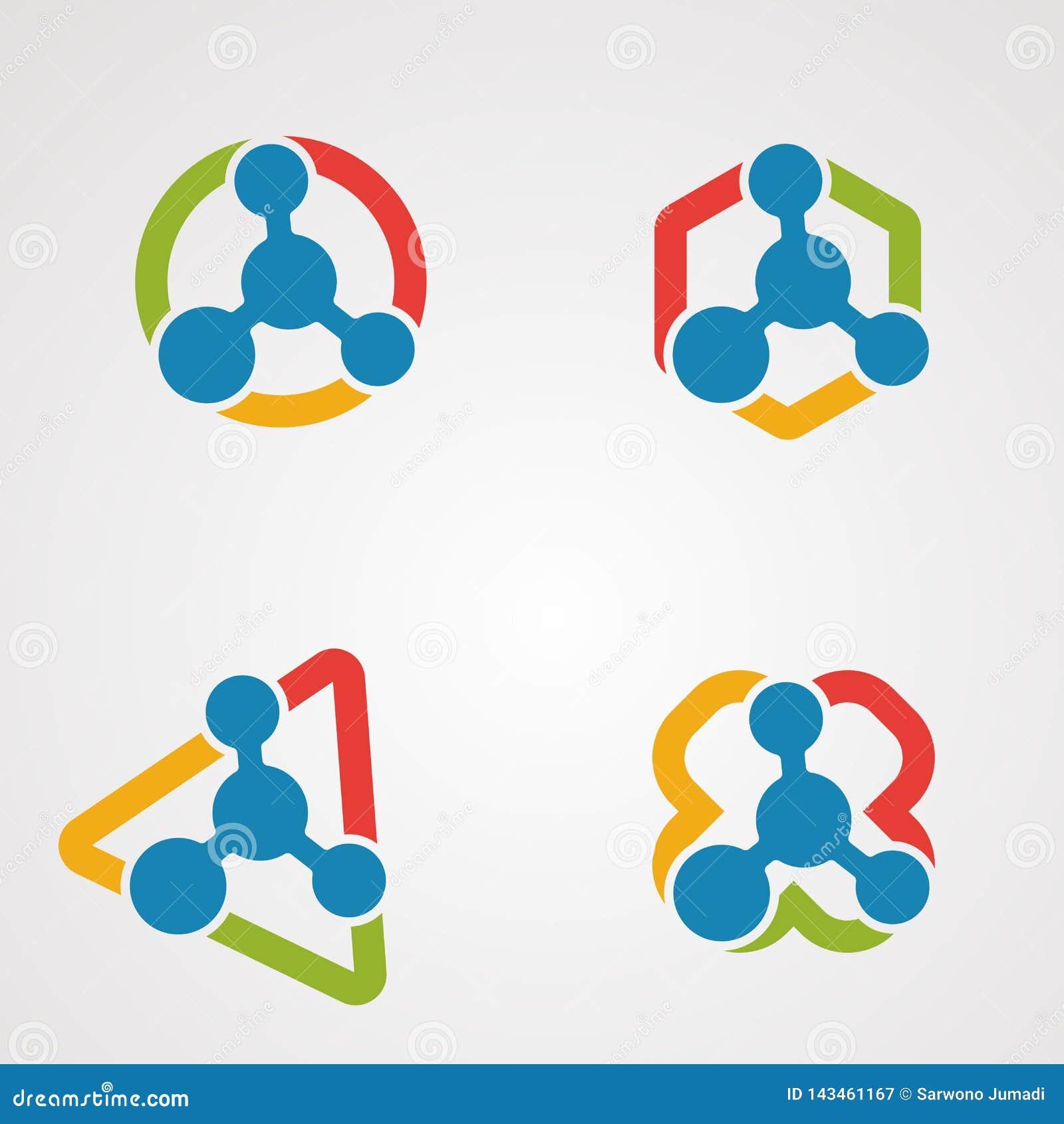 Placez le concept, l icône, l élément, et le calibre de vecteur de logo de molécule pour la société